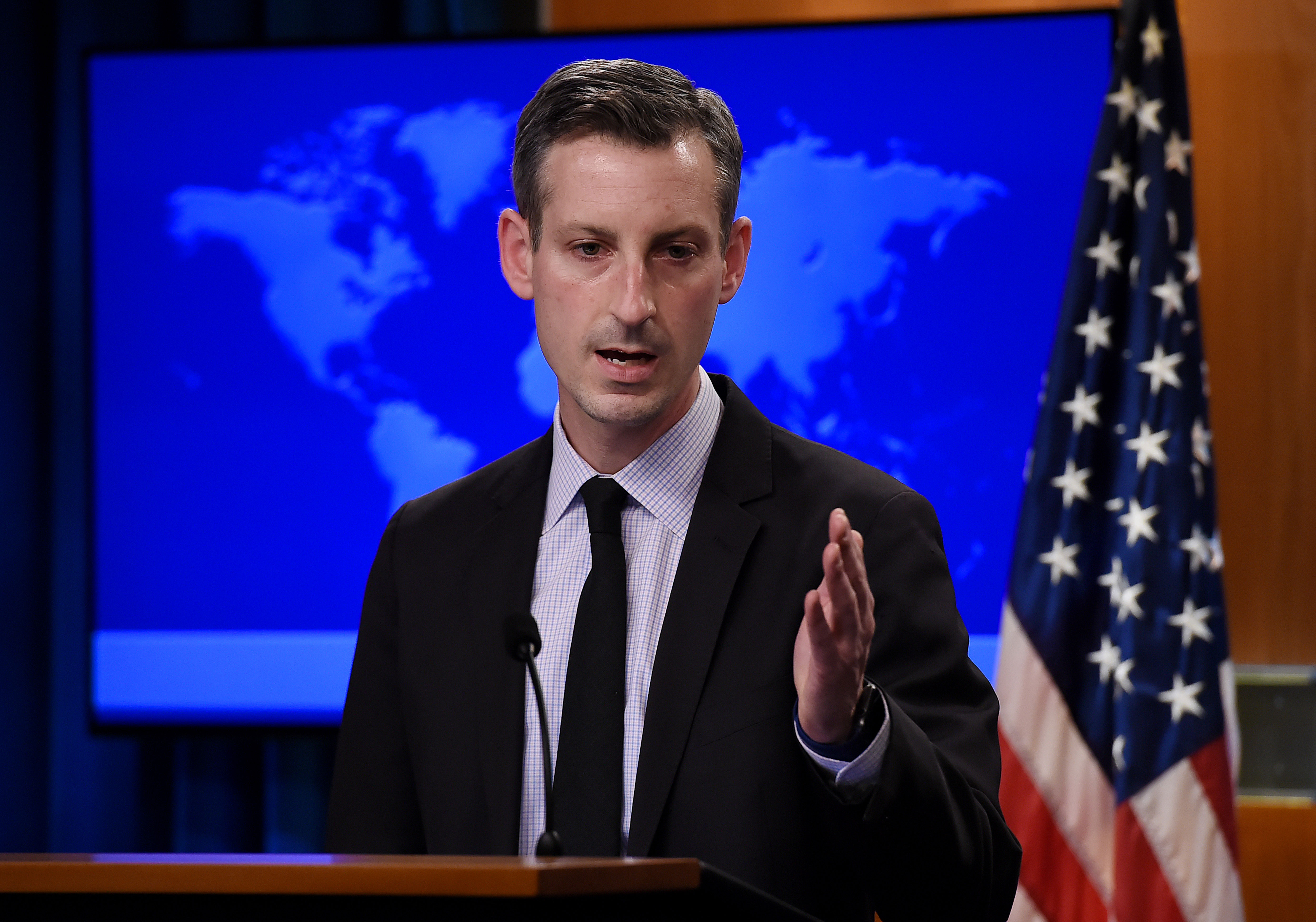 US State Department spokesperson Ned Price answers a question at a press briefing in Washington, DC, on February 9.