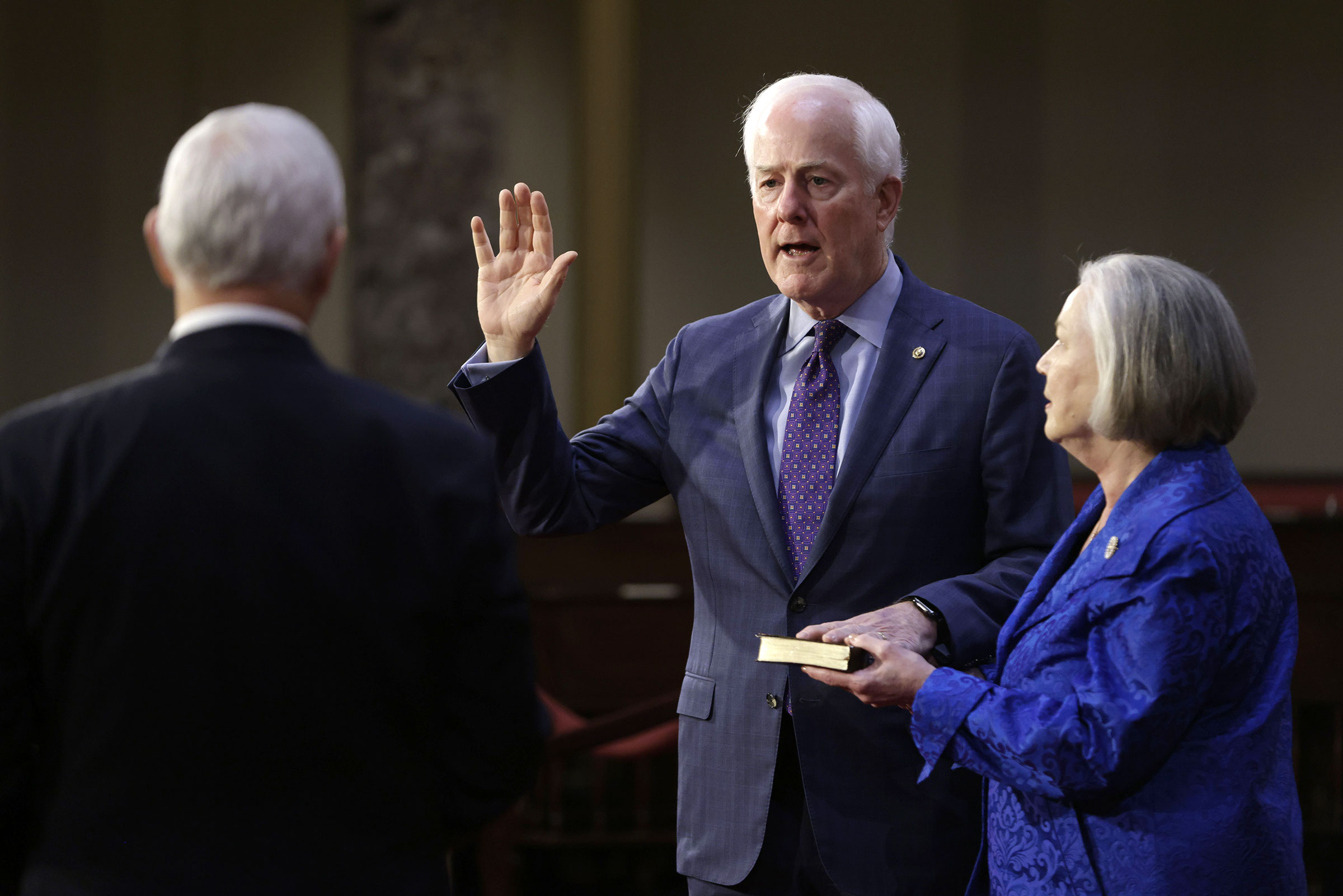 Sen. John Cornyn is ceremoniously sworn-in by Vice President Mike Pence in Washington, DC on January 3.