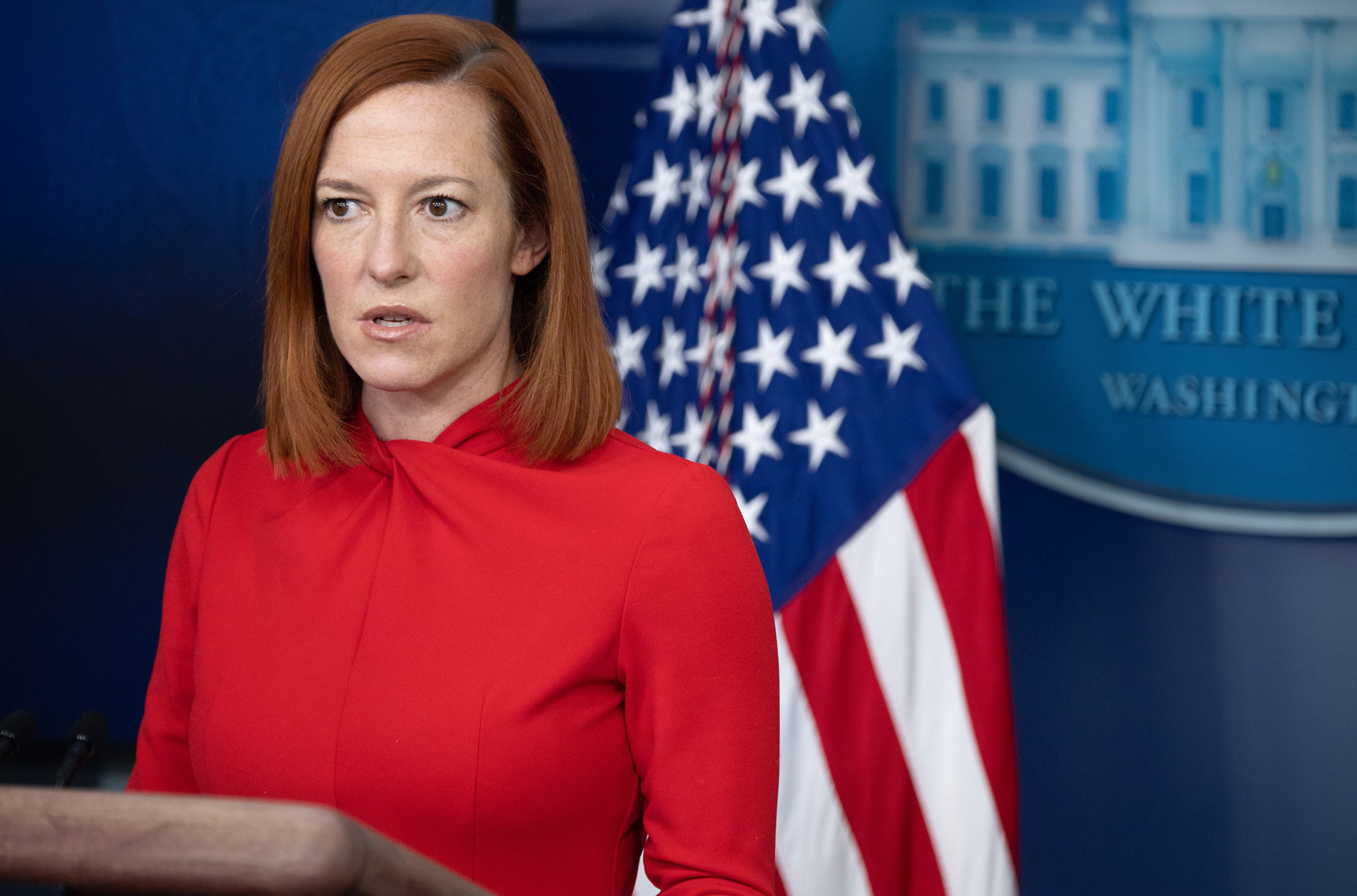 White House Press Secretary Jen Psaki speaks during a press briefing on February 17 in the Brady Briefing Room of the White House in Washington, DC.