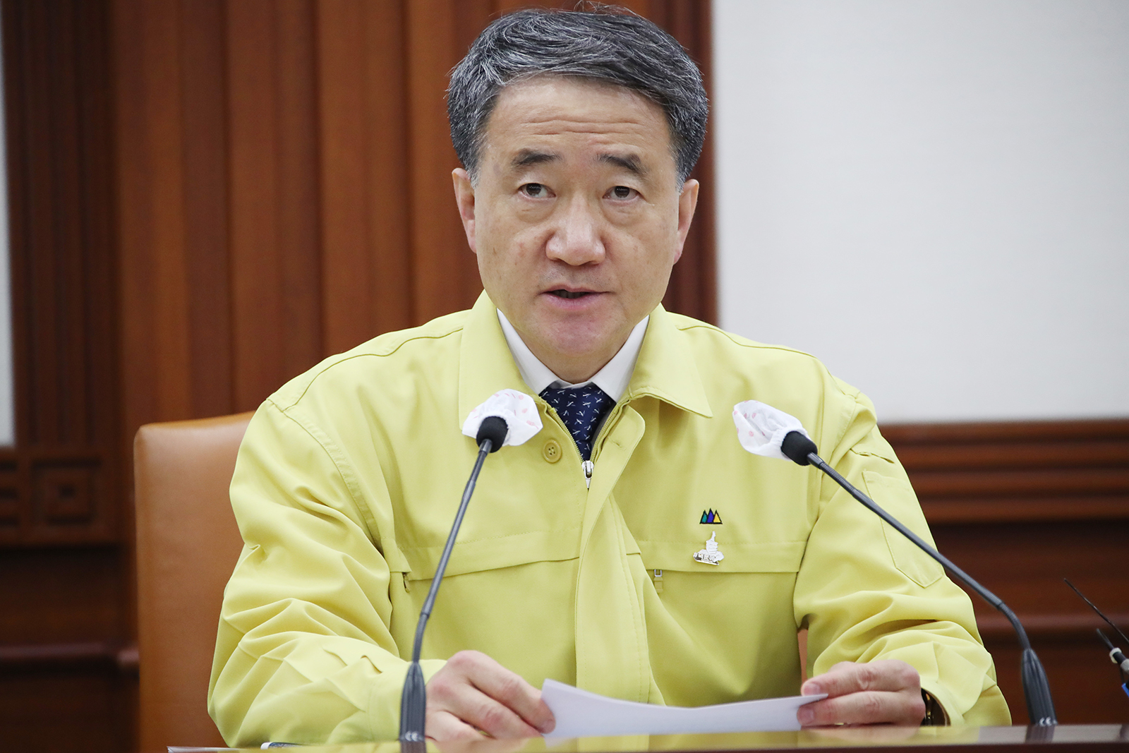 Health Minister Park Neung-hoo speaks during a meeting of the Central Disease Control Headquarters at the government complex in Seoul on July 20, to discuss measures to prevent the spread of the novel coronavirus.