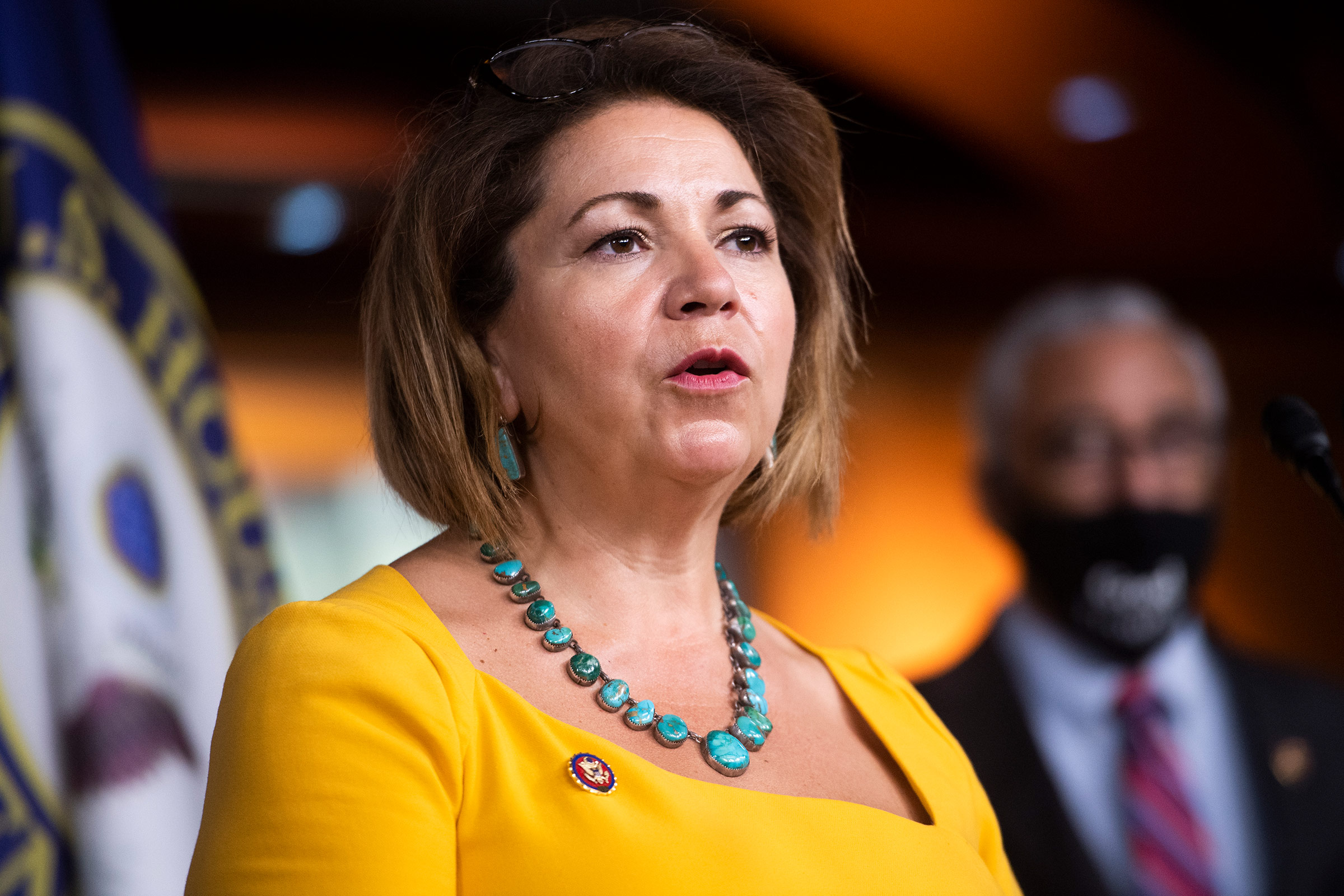 Rep. Linda Sánchez speaks during a news conference on July 29, 2020.