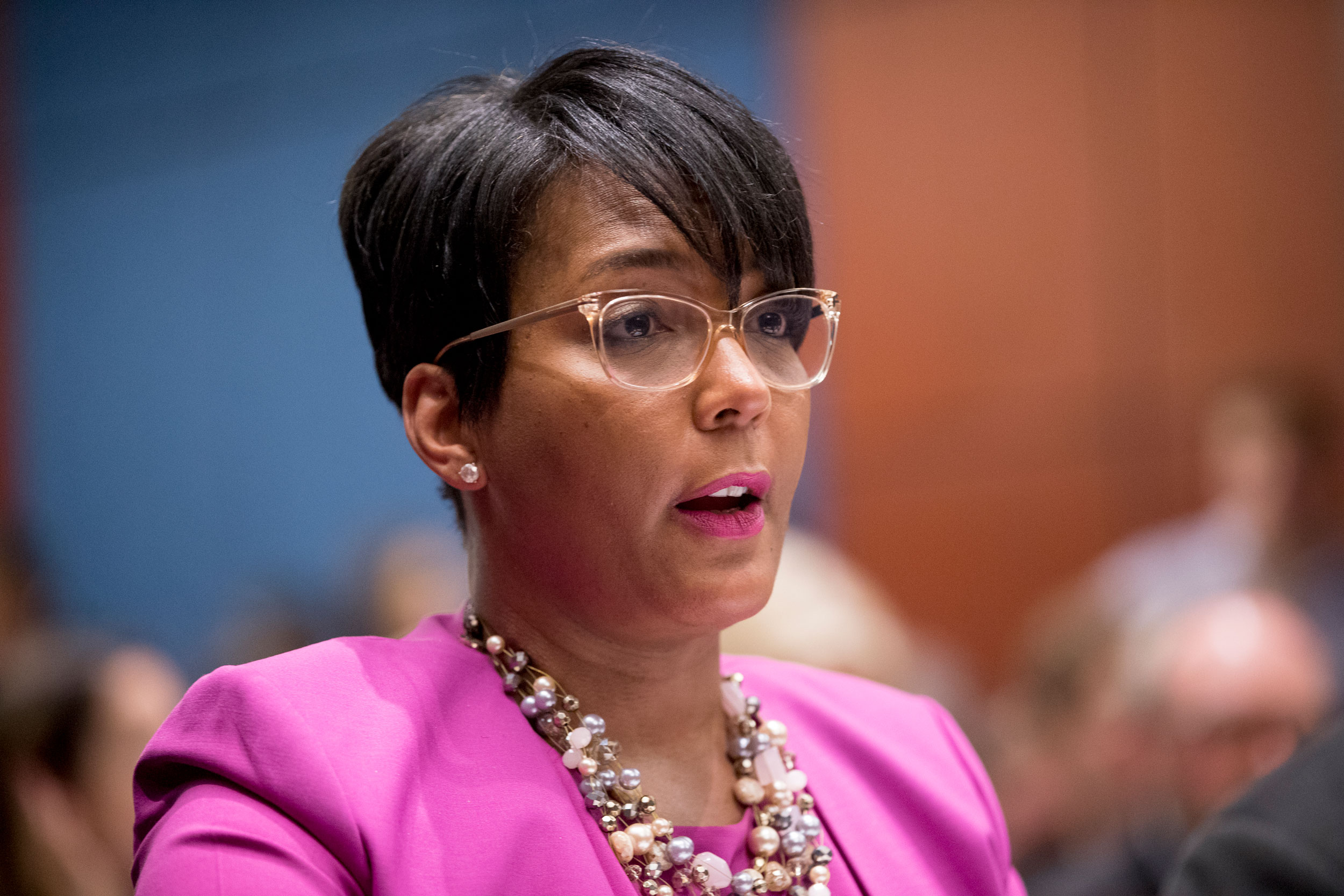 Atlanta Mayor Keisha Lance Bottoms speaks during a Senate Democrats' Special Committee on the Climate Crisis on Capitol Hill in Washington, DC., on July 17, 2019.
