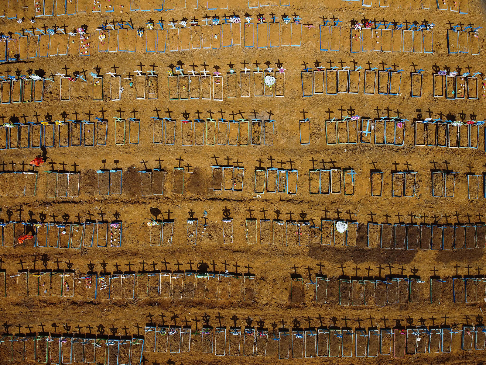 Aerial view of the Nossa Senhora Aparecida cemetery where Covid-19 victims are buried daily, in Manaus, Brazil, on June 2.