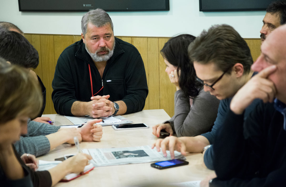 Dmitry Muratov attends a planning meeting with the Novaya Gazeta editorial board in Moscow, Russia, on October 9, 2015.