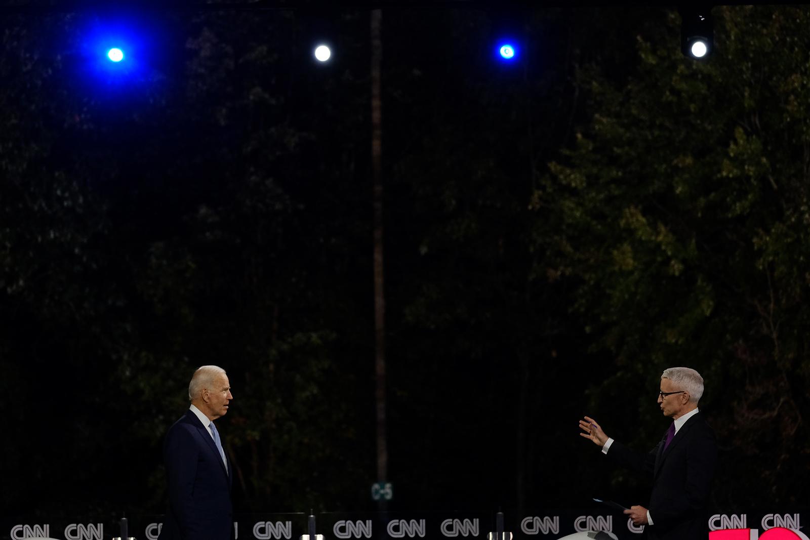 Democratic presidential nominee Joe Biden speaks with CNN's Anderson Cooper at the CNN Presidential Town Hall in Scranton, Pennsylvania, on Thursday.