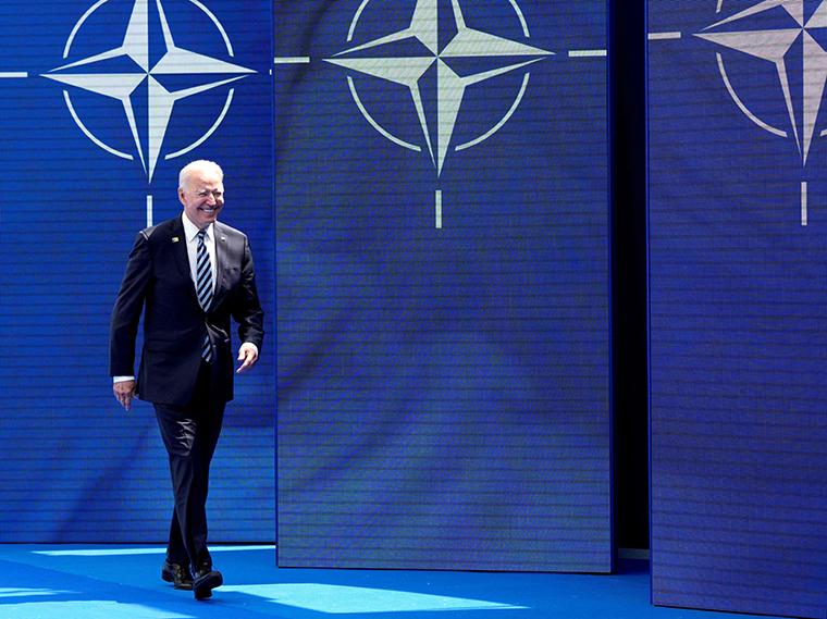 U.S. President Joe Biden arrives for the NATO summit at the North Atlantic Treaty Organization (NATO) headquarters in Brussels on June 14, 2021.