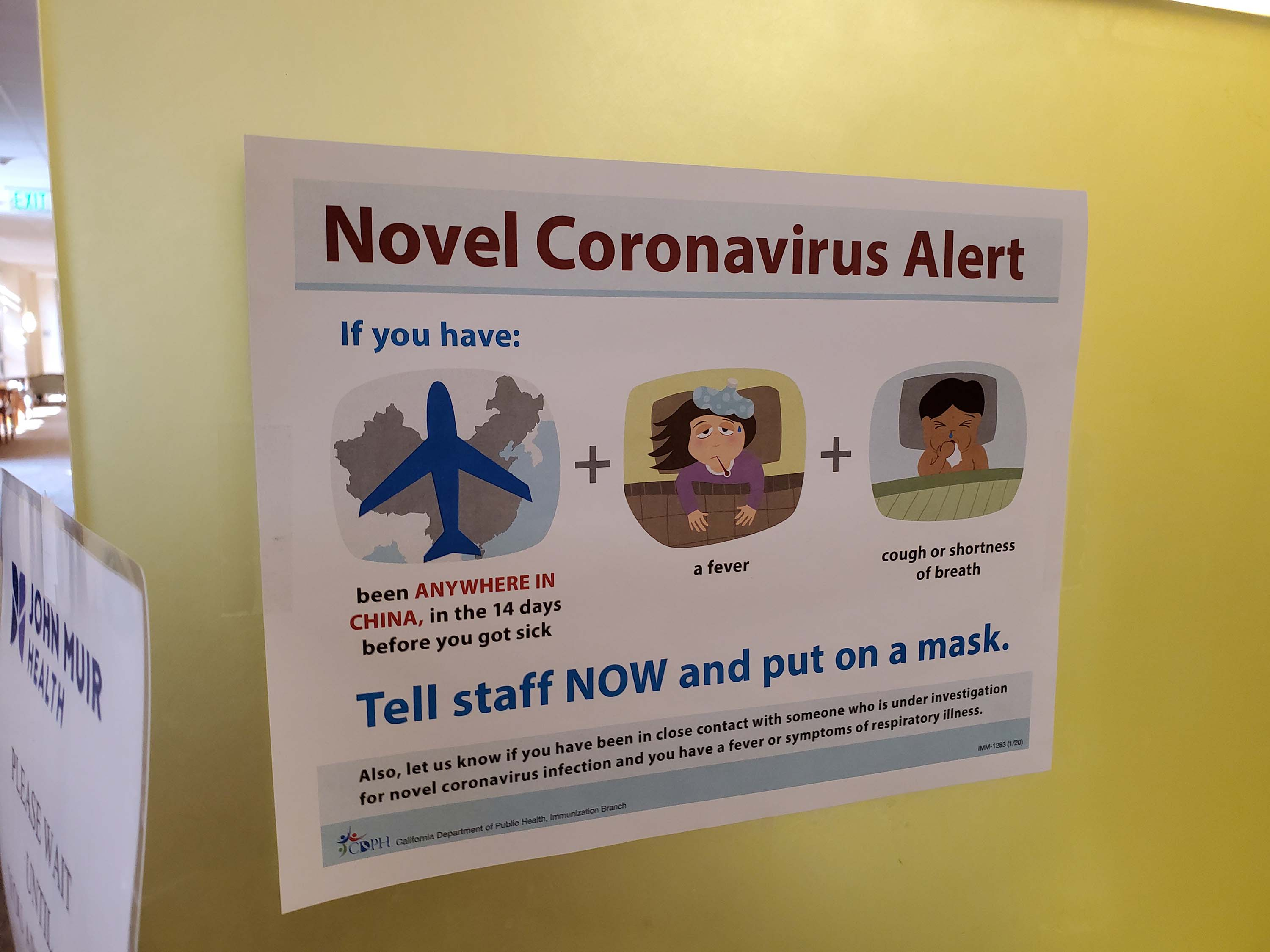 Signage with information about the coronavirus alert is posted at a California medical center on February 9.
