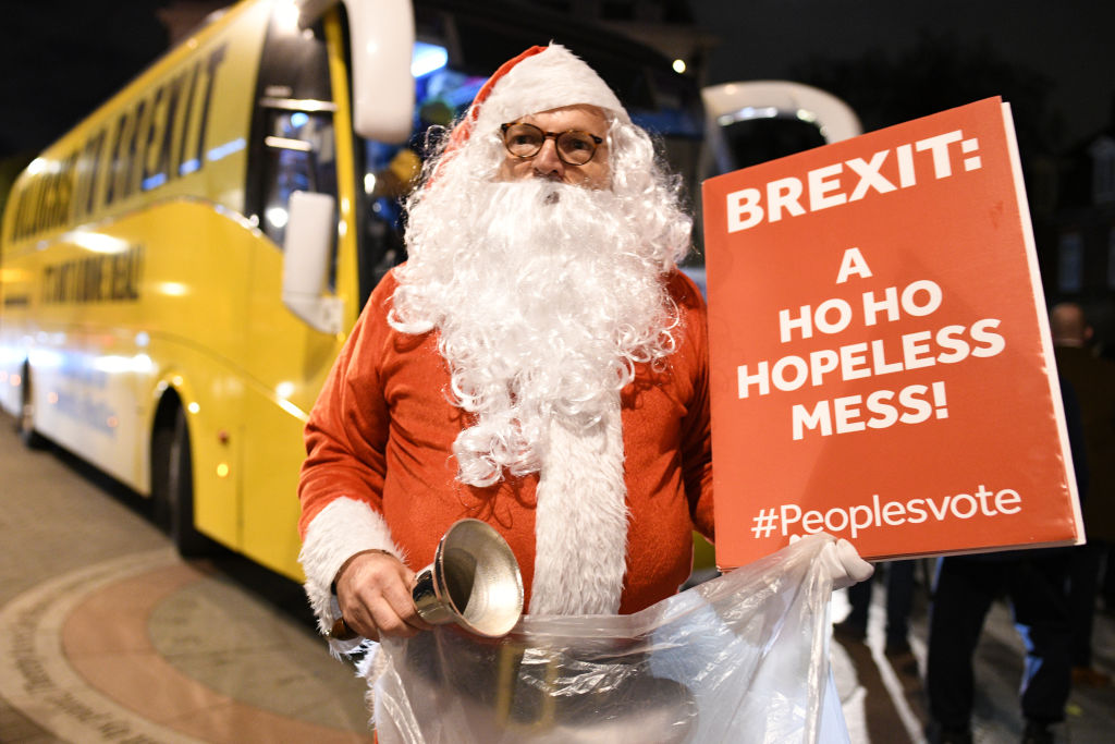 An anti-Brexit Santa Claus protests in London last year.