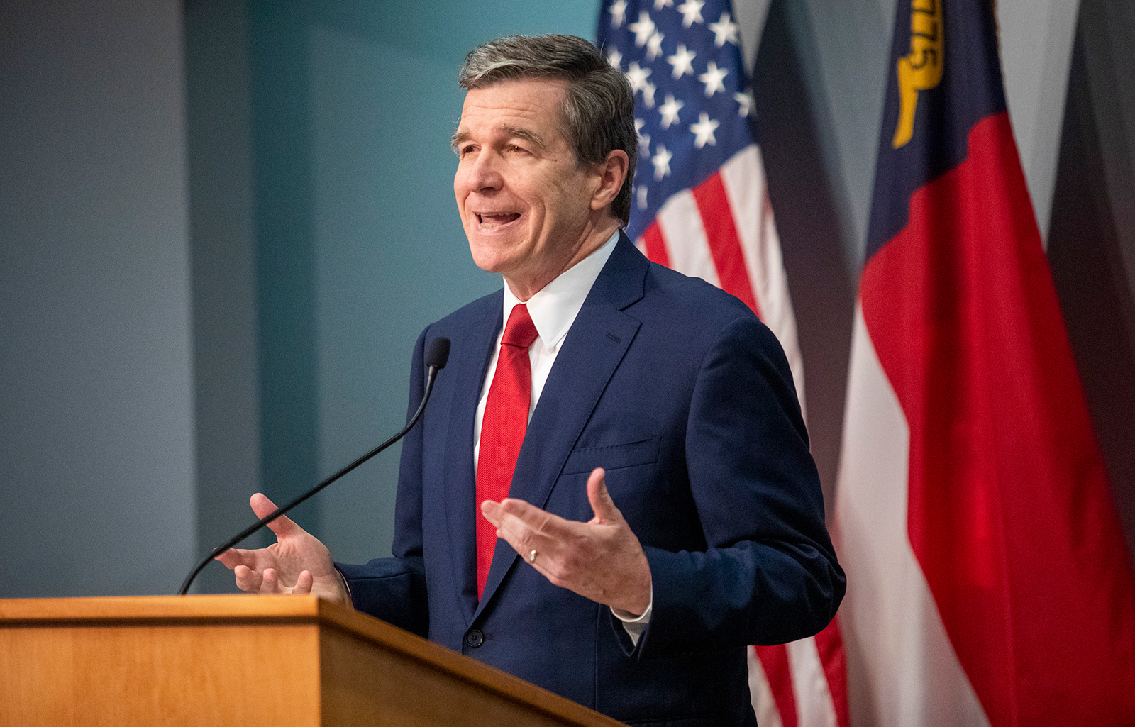 Gov. Roy Cooper speaks during a briefing on North Carolina's coronavirus pandemic response on May 5, at the NC Emergency Operations Center in Raleigh.
