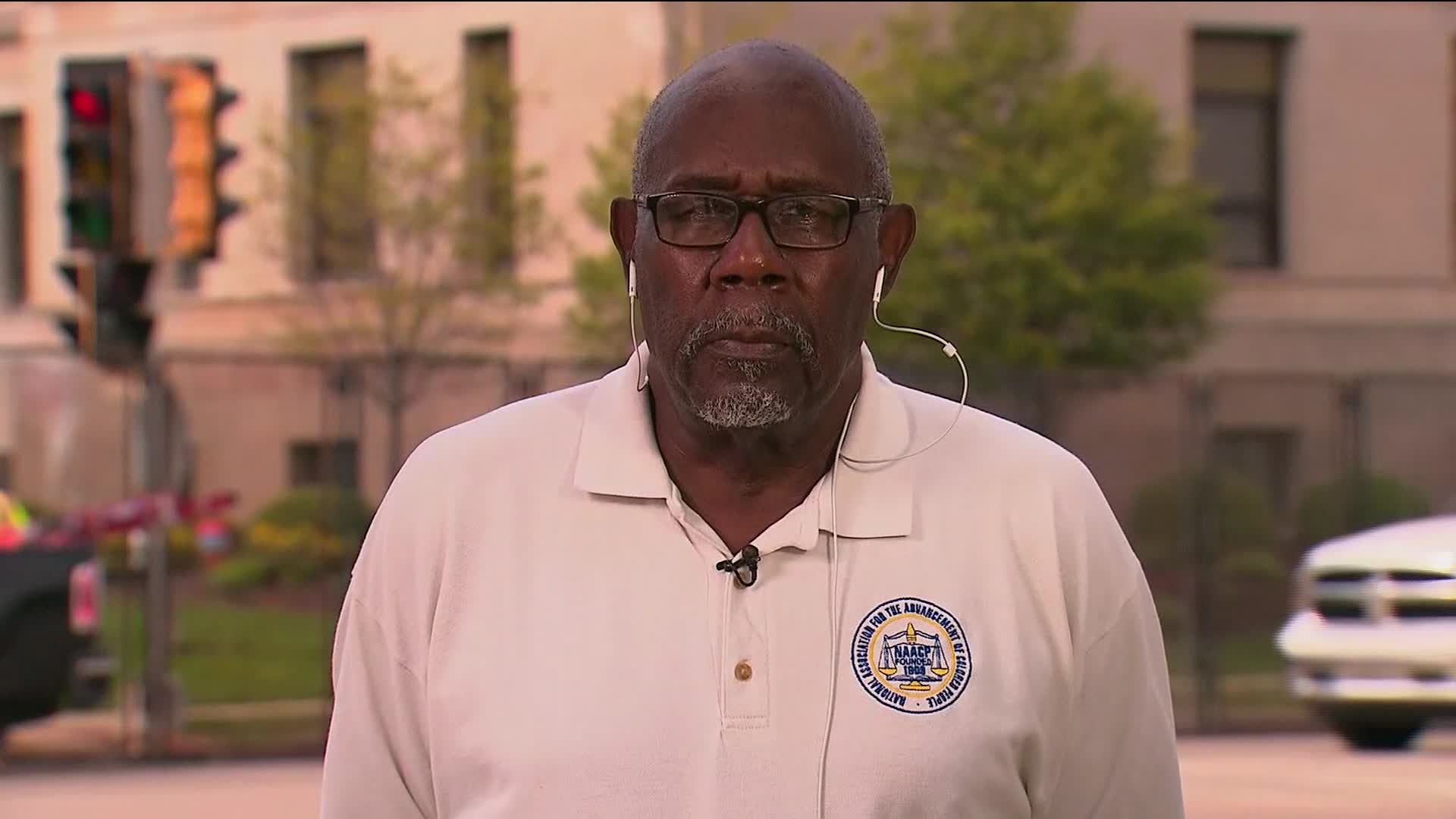 Wendell Harris, the president of the Wisconsin branch of the NAACP, speaks during an interview on August 25.