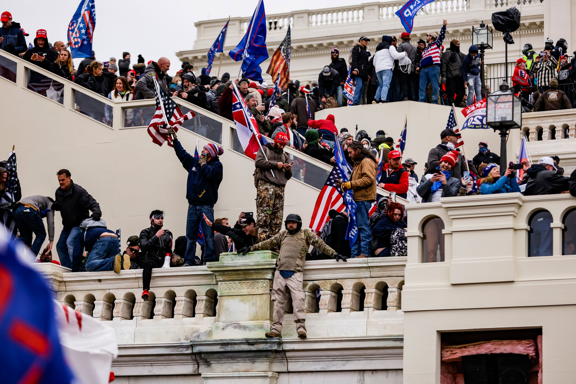 Trump supporters storm the U.S. Capitol on January 6 in Washington, DC.