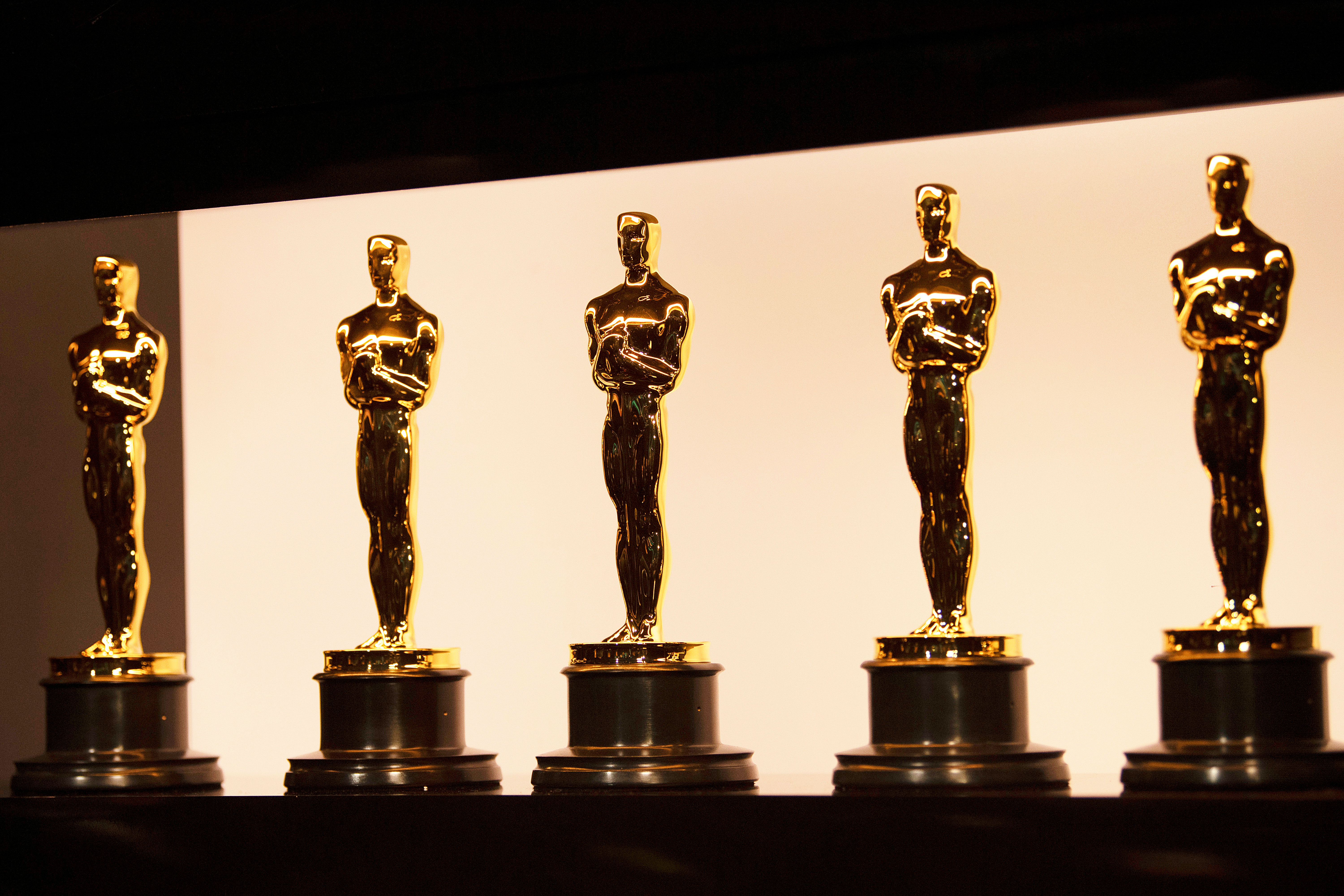 Oscar statuettes are backstage during the Academy Awards in Hollywood, California, in February 2020.