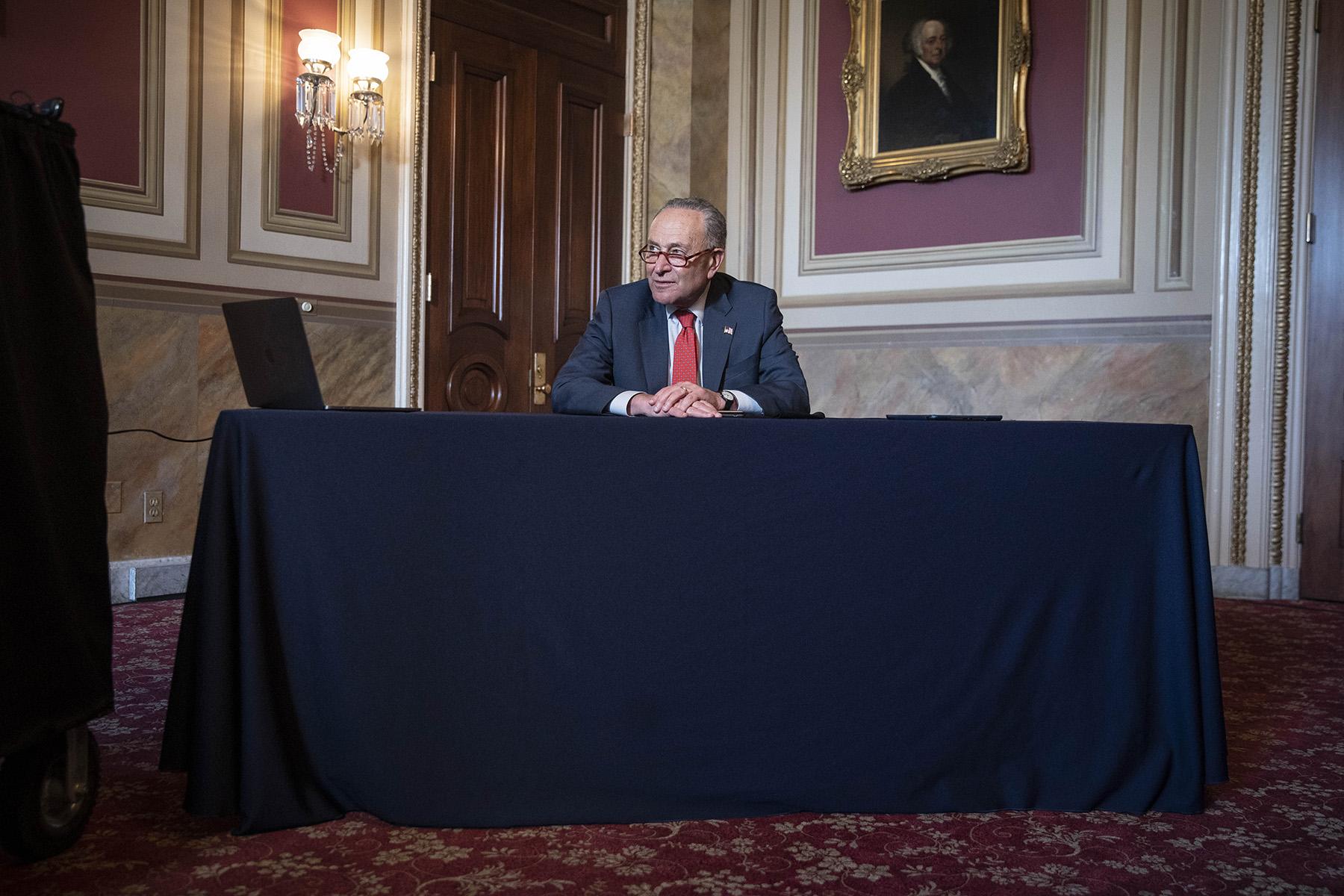 Senate Minority Leader Chuck Schumer, meets virtually with General Lloyd Austin, U.S. secretary of defense-designate, at the U.S. Capitol in Washington, DC, on Tuesday, Dec. 15.