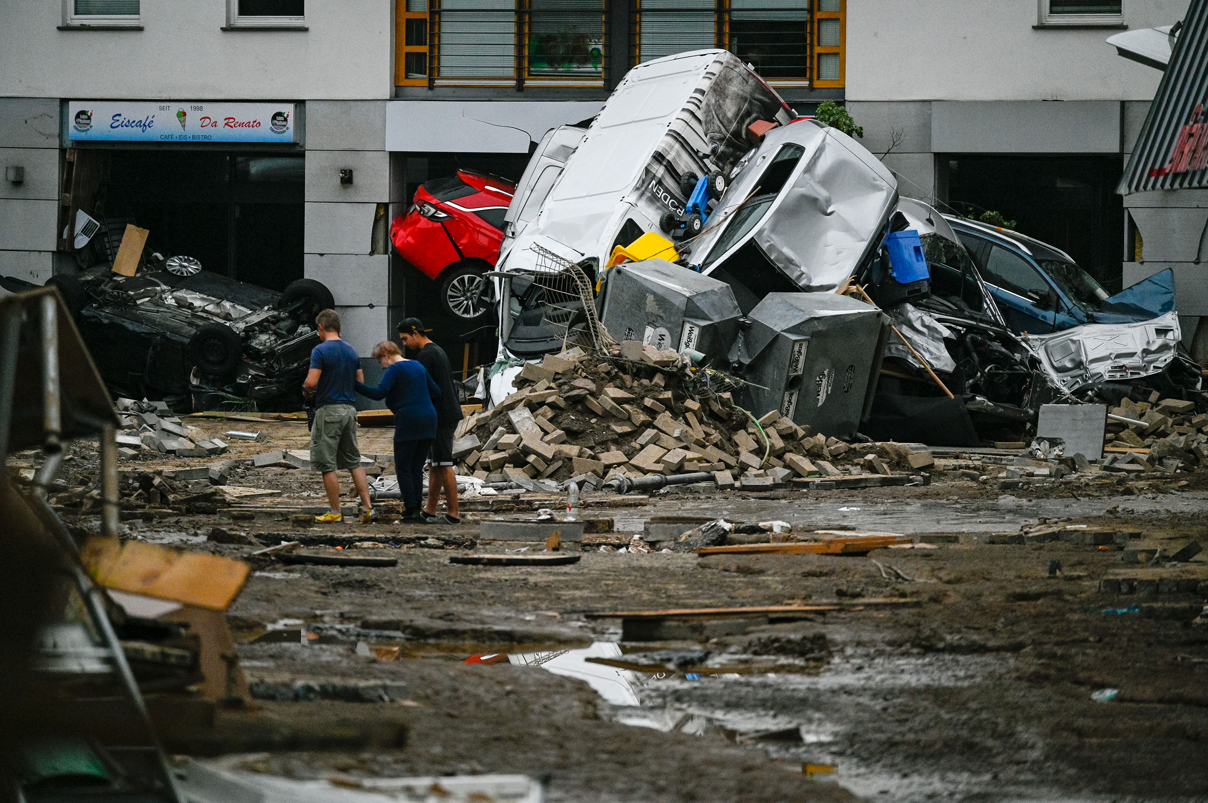 Debris and damage caused by flooding are seen in Bad Neuenahr, Germany, on July 16.