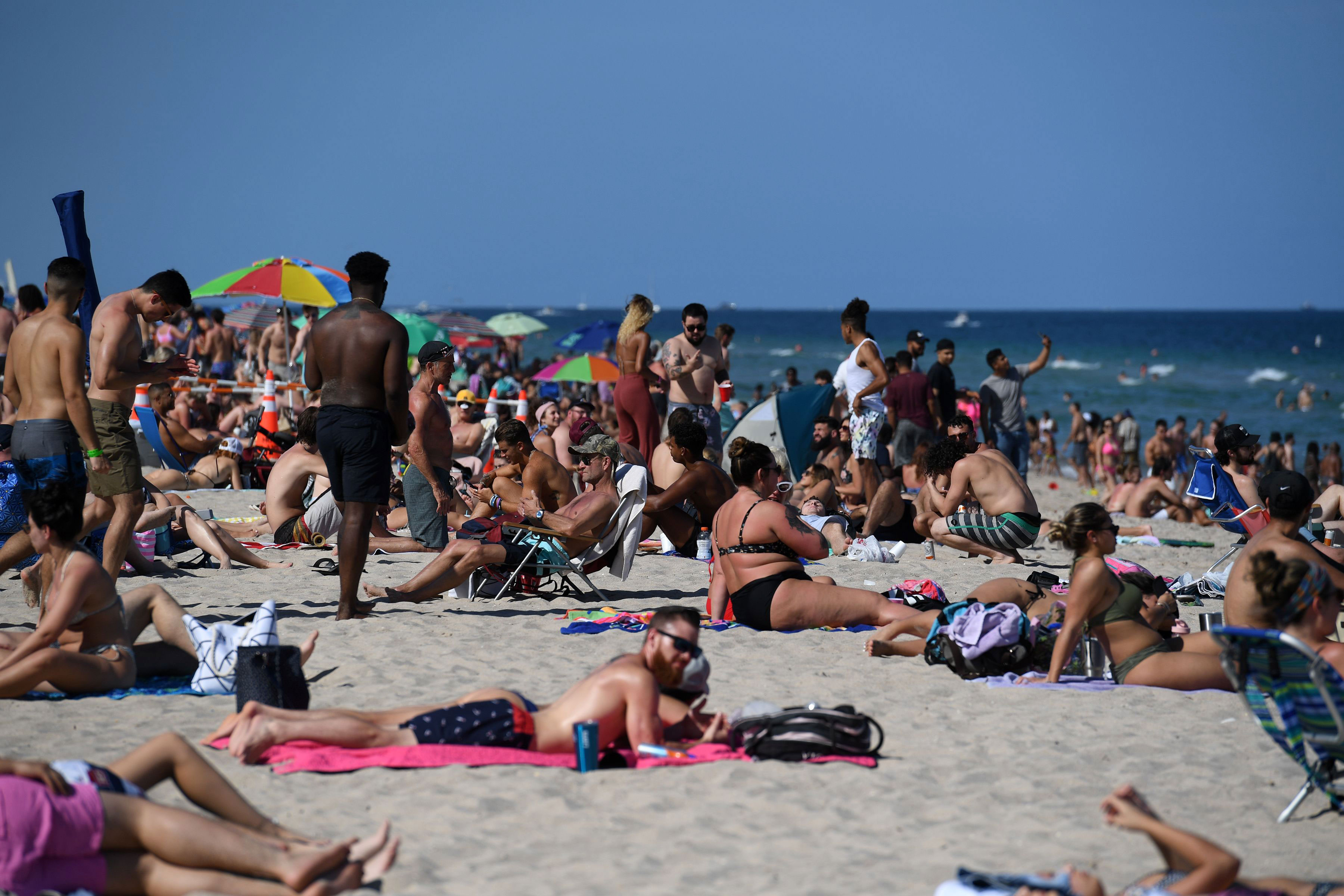 People visit Fort Lauderdale Beach in Florida on March 14.