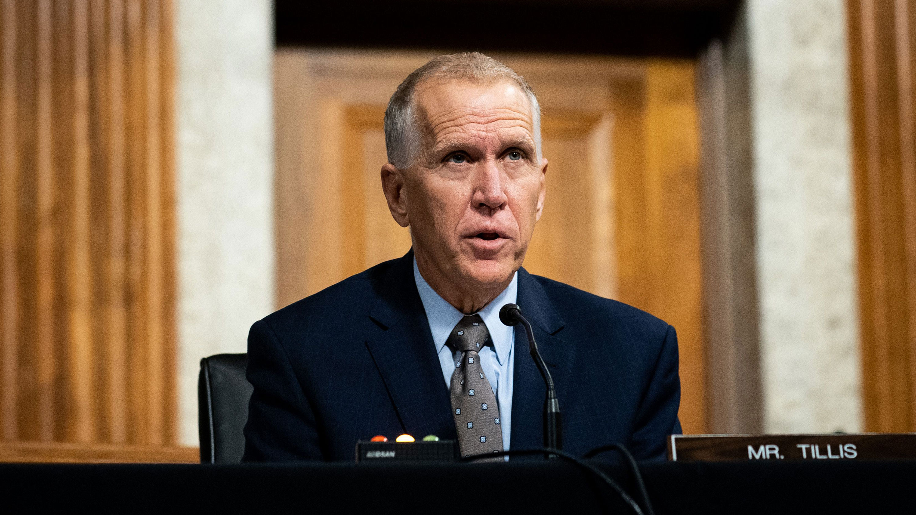 Senator Thom Tillis, of North Carolina, speaks during a Senate Judiciary Committee oversight hearing on Capitol Hill on August 5 in Washington, DC.