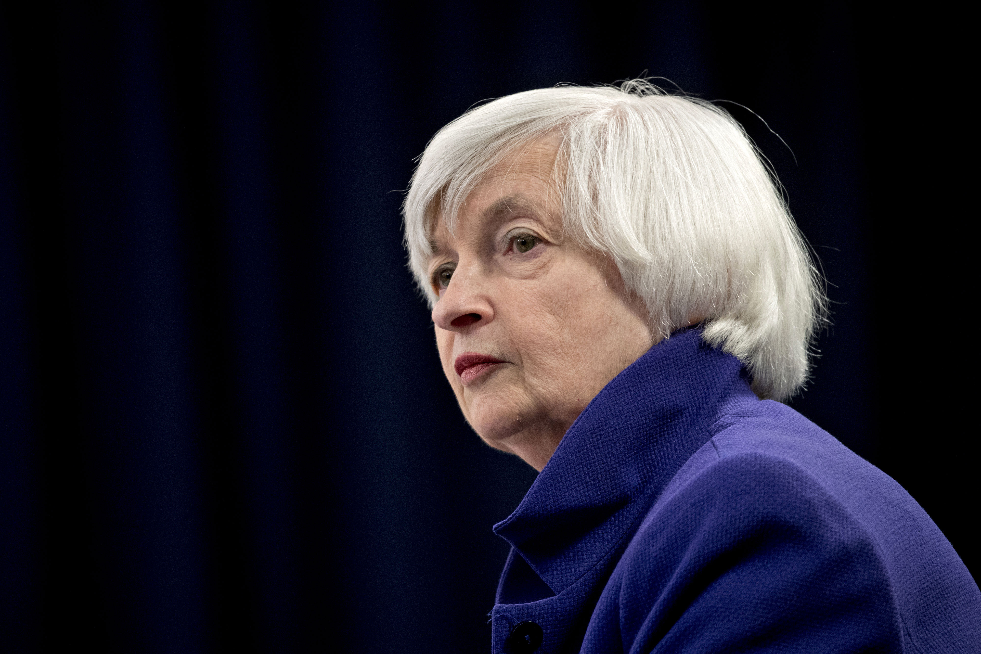 Janet Yellen, then chair of the Federal Reserve, listens to a question during a news conference in Washington, DC, on December 13, 2017.