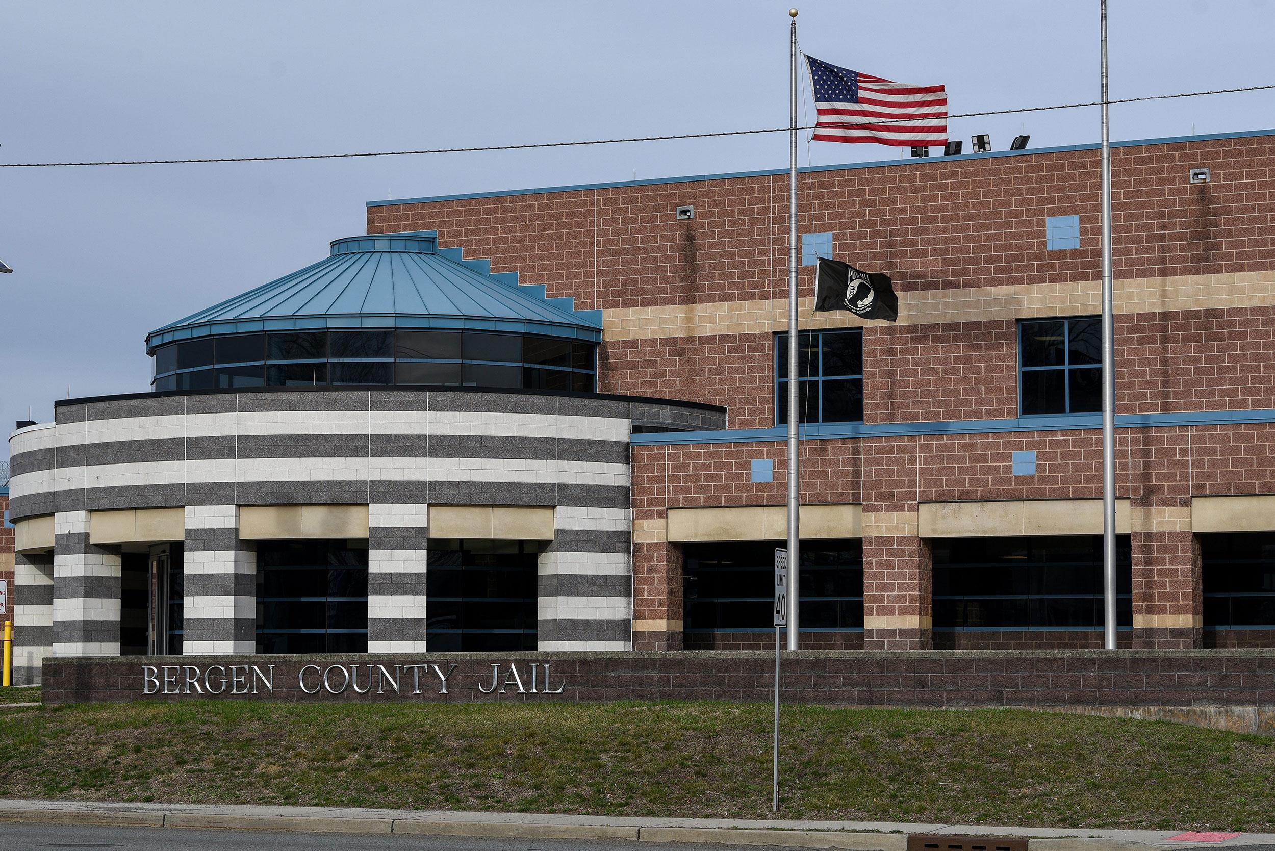 The exterior Bergen County Jail in Hackensack, New Jersey.