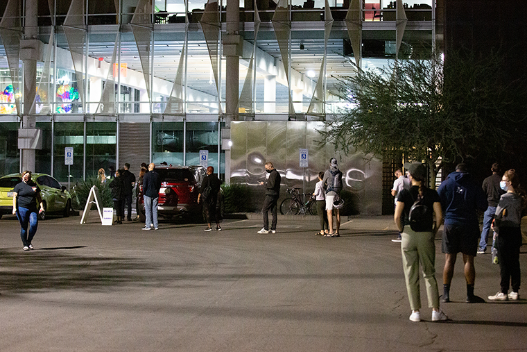 Voters wait to cast their ballots at Burton Barr Central Library on November 3, 2020 in Phoenix, Arizona.