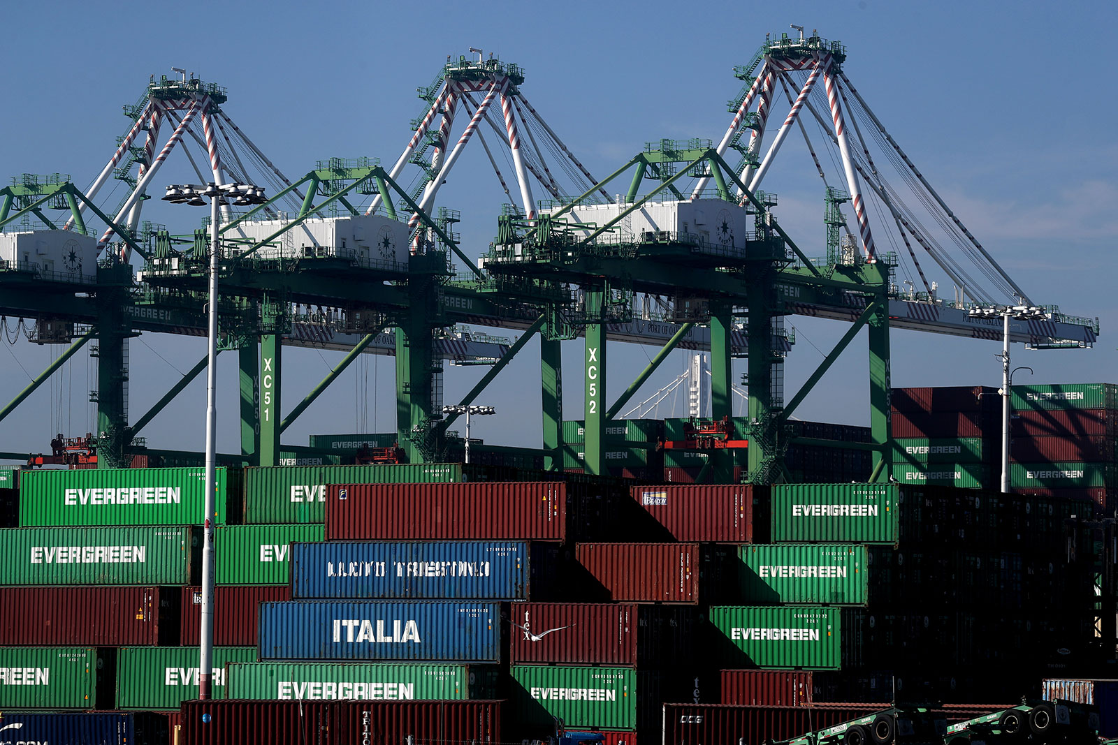 Stacks of shipping containers sit at the Port of Oakland in Oakland, California.