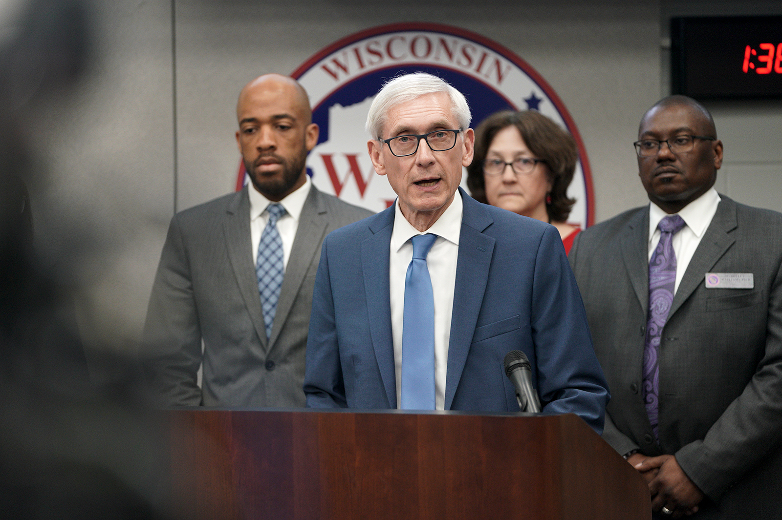 Gov. Tony Evers speaks at the Wisconsin Department of Military Affairs in the State Emergency Operations Center in Madison, Wisconsin, on March 12.