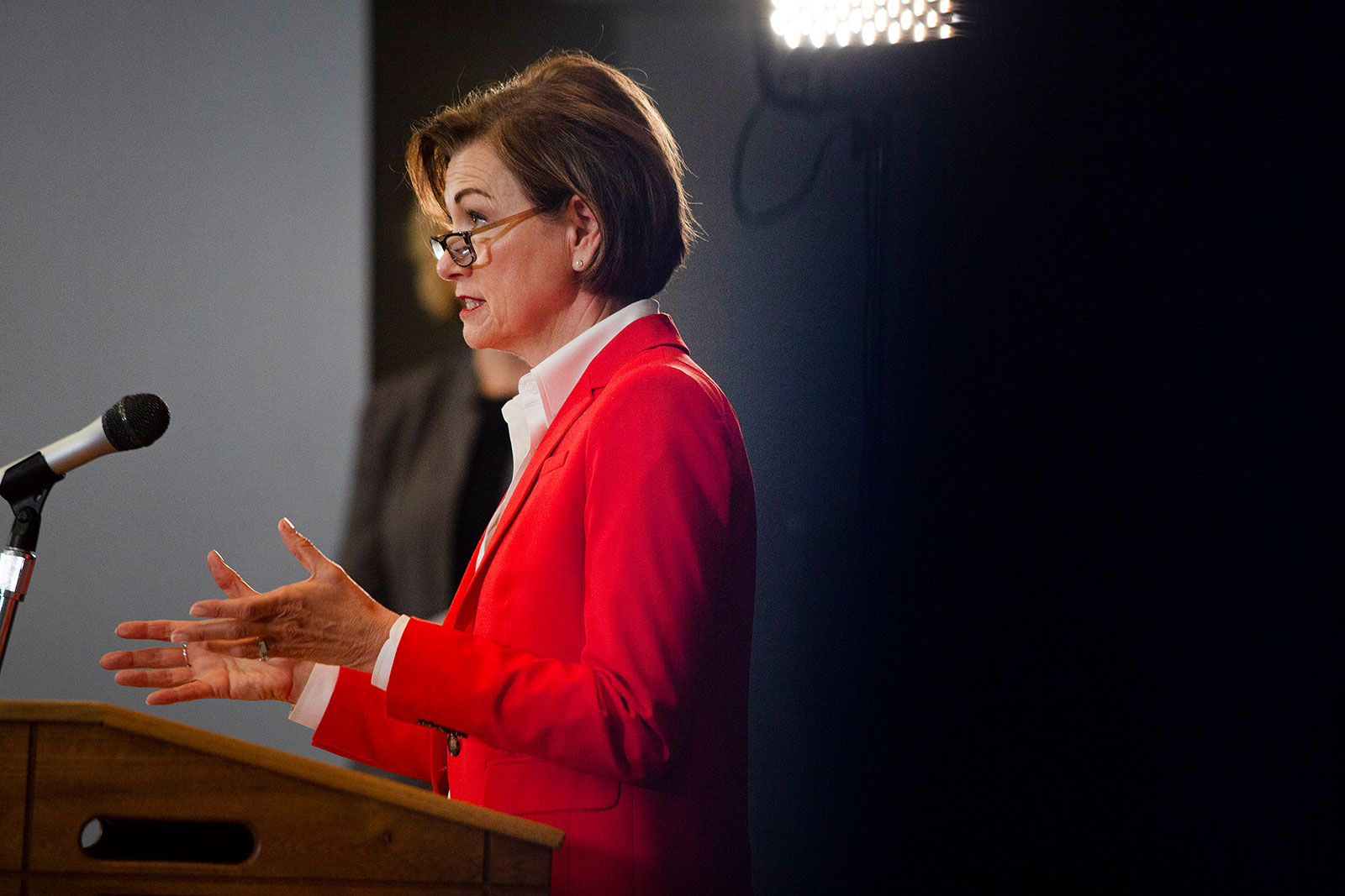 Iowa Gov. Kim Reynolds speaks during a news conference in Johnston, Iowa, on Tuesday, May 19.