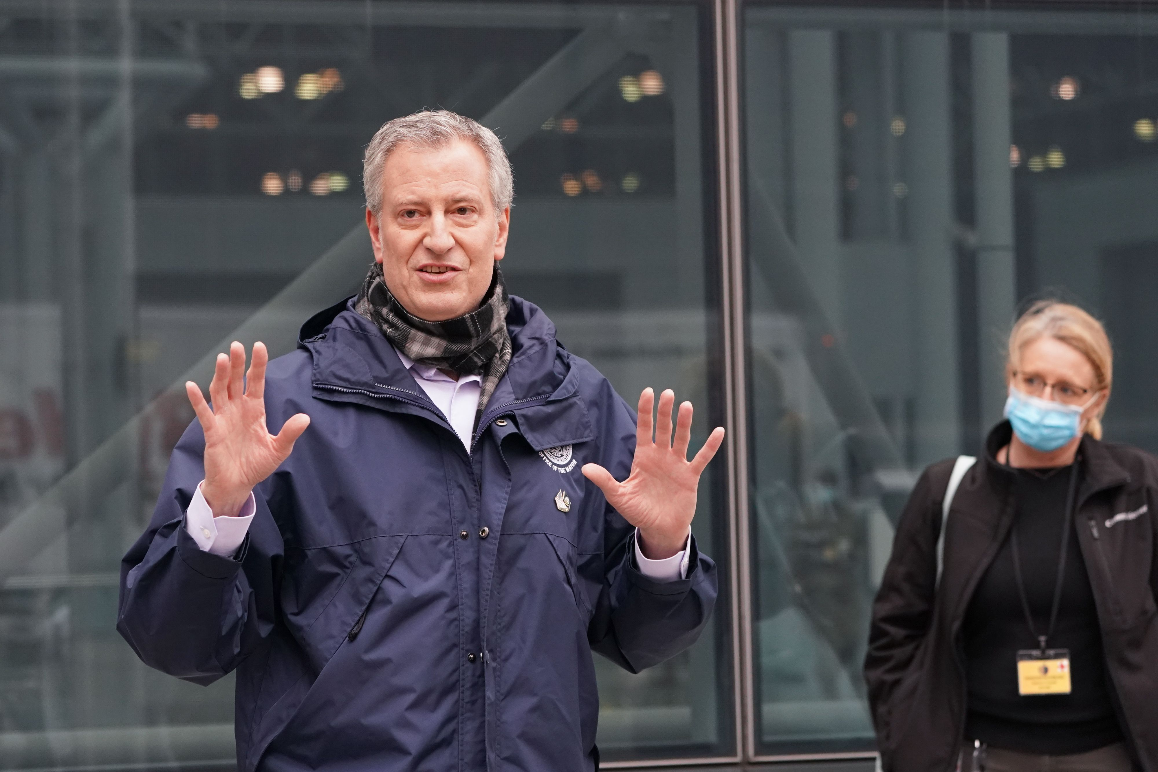 NYC Mayor Bill de Blasio on April 5. BRYAN R. SMITH/AFP via Getty Images)