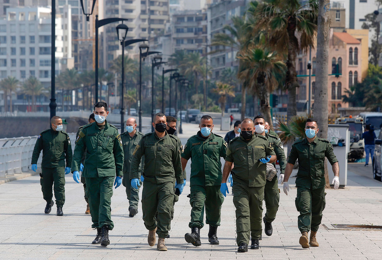 Police patrol a street in Beirut, Lebanon, on March 16.