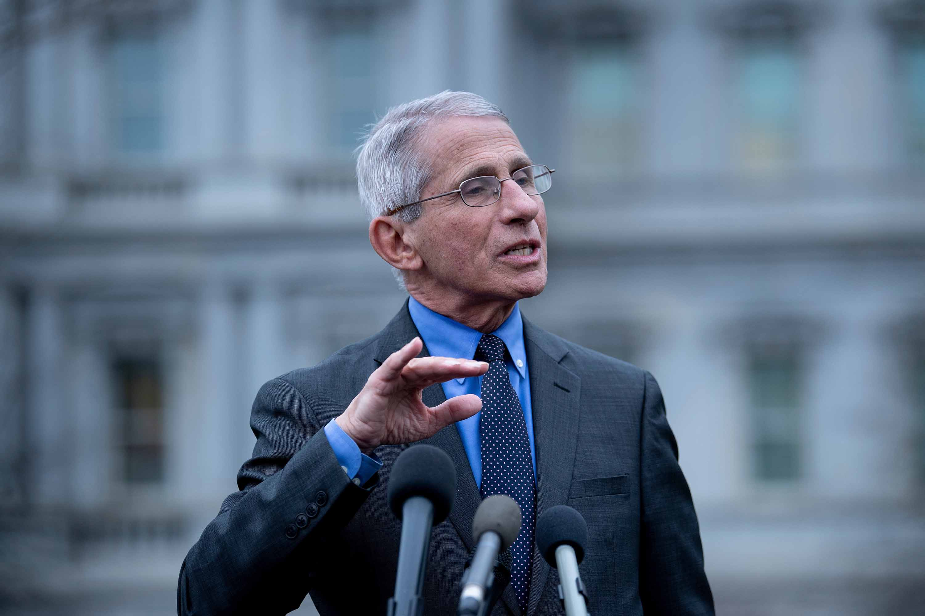 National Institute of Allergy and Infectious Diseases Director Dr. Anthony Fauci speaks to the press outside the White House on March 12.