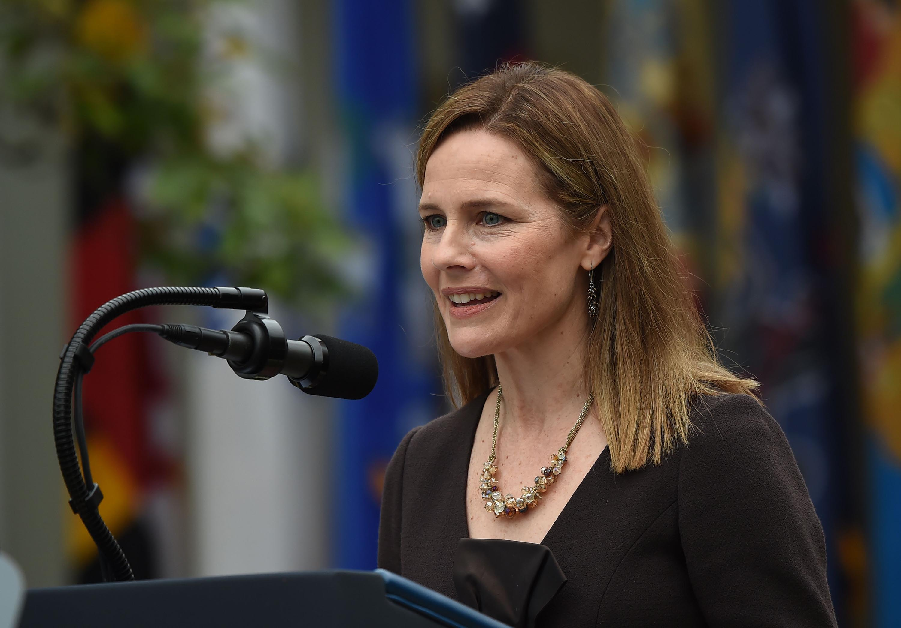 Judge Amy Coney Barrett speaks after being nominated to the US Supreme Court by President Donald Trump on September 26 in Washington, DC.