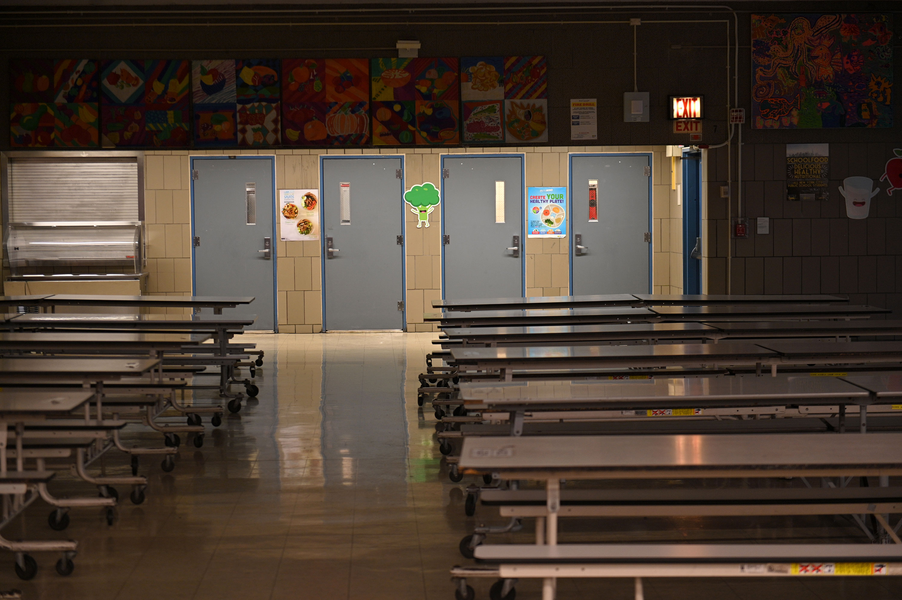An empty school cafeteria in Manhattan on March 19.