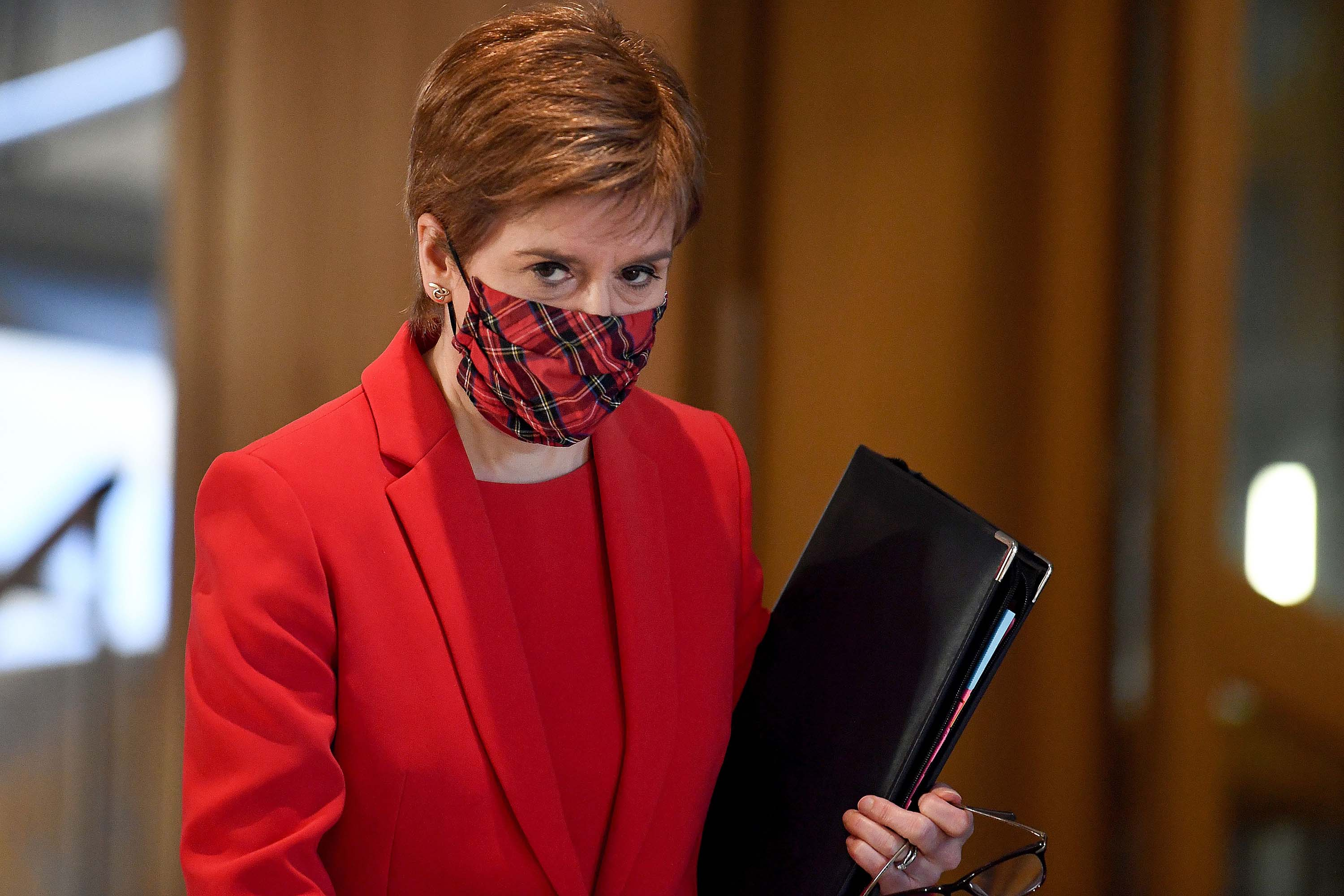 Scotland's First Minister Nicola Sturgeon is pictured at the Scottish Parliament in Edinburgh on December 30.