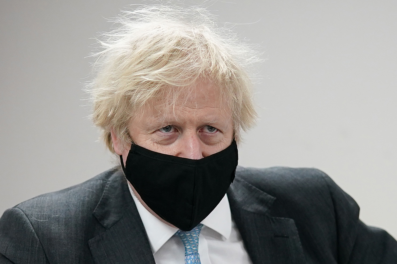 Britain's Prime Minister Boris Johnson visits the QuantuMDx Biotechnology company in Newcastle upon Tyne, England, on February 13.