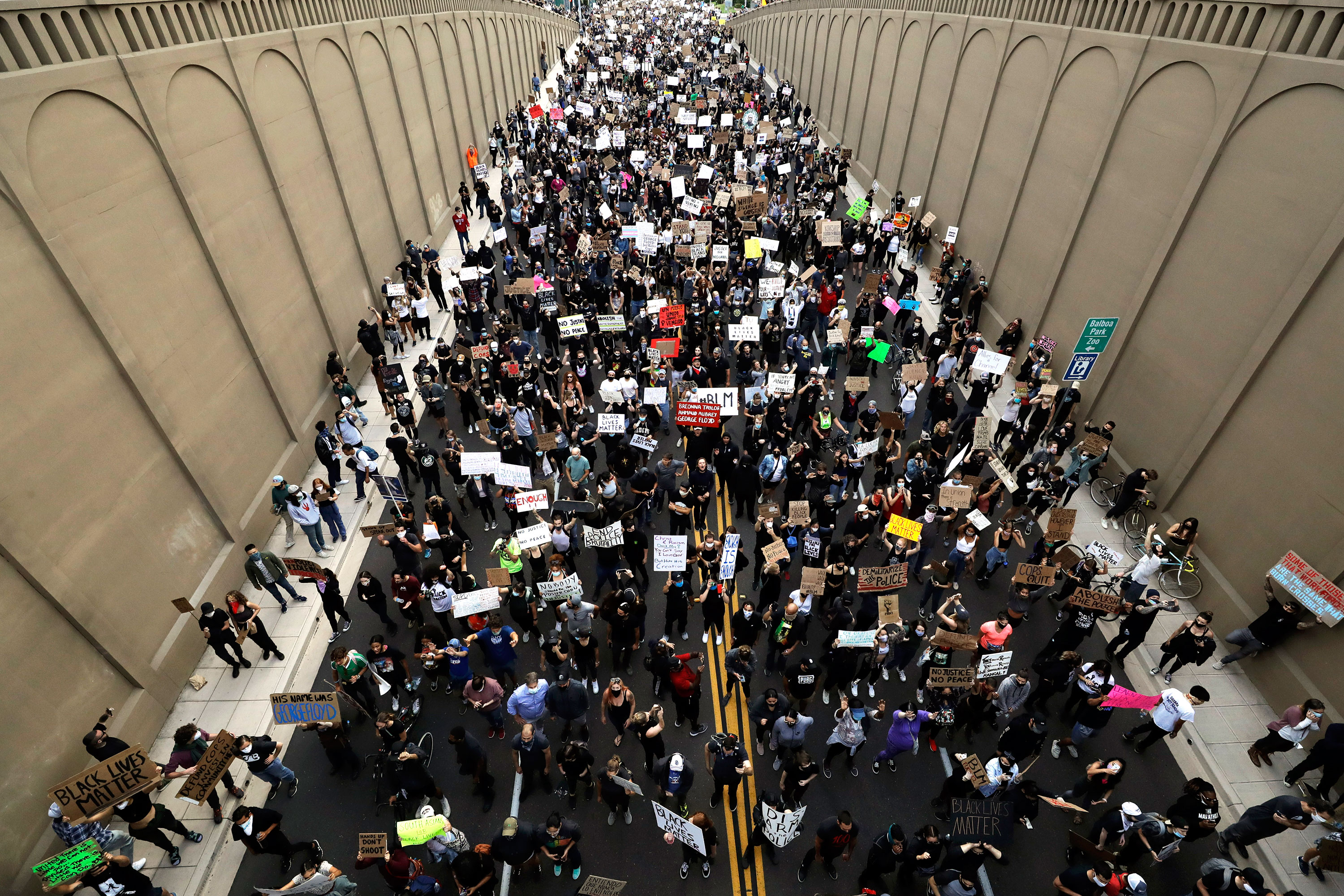 Protesters march in the streets of San Diego, California, on June 4.