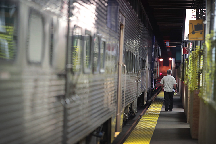A passenger catches a commuter train out of Union Station on April 28, 2020 in Chicago, Illinois.