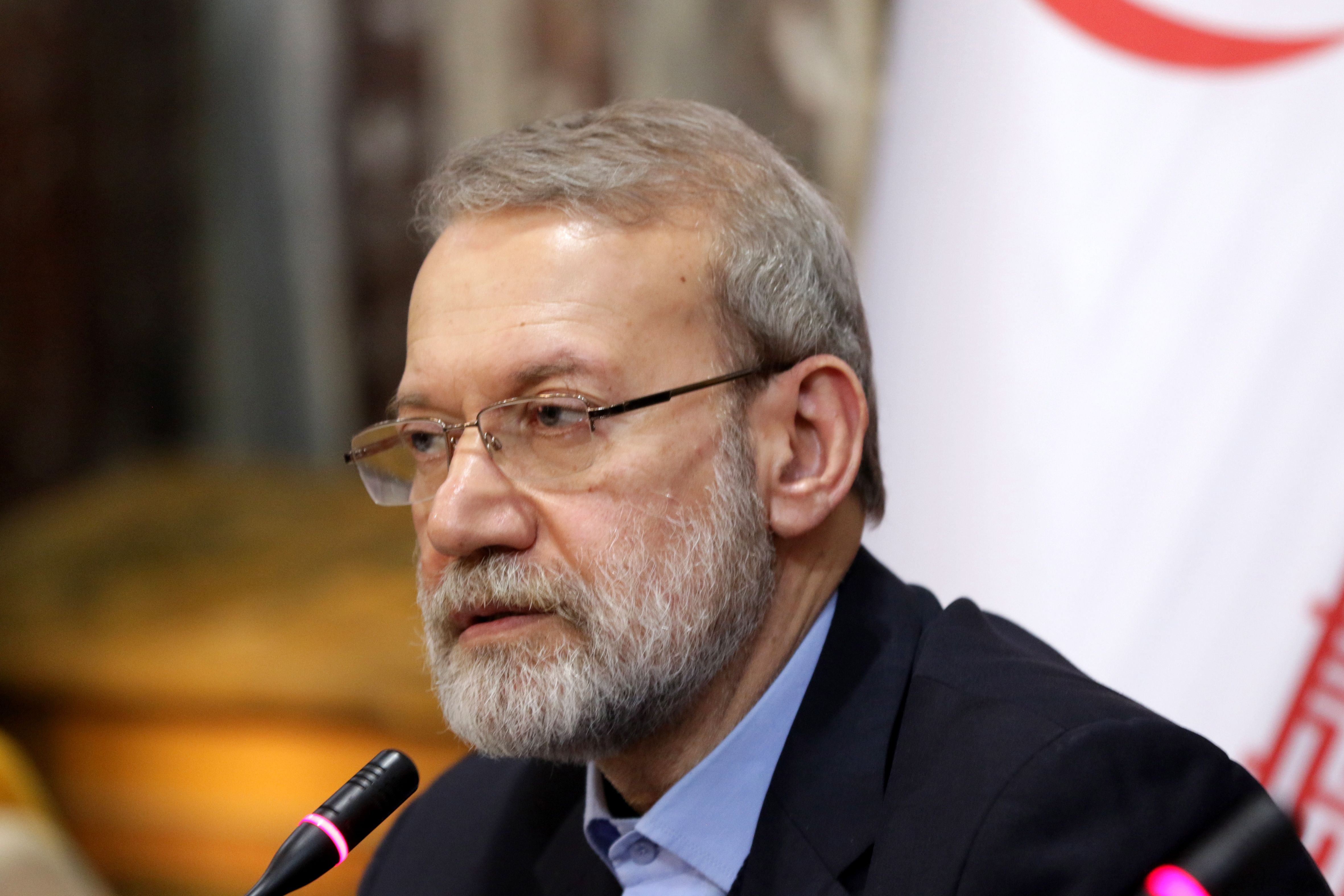 Iranian Parliament Speaker Ali Larijani speaks during a press conference in Damascus, Syria, on February 16.