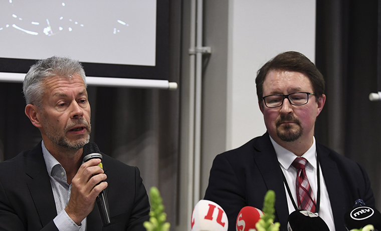 Chief Physician Taneli Puumalainen, left, and Director Mika Salminen of THL (National Institute for Health and Welfare) address a press conference in Helsinki, Finland, on Wednesday, January 29, relating to the first confirmed coronavirus case in Lapland Central Hospital in Rovaniemi.