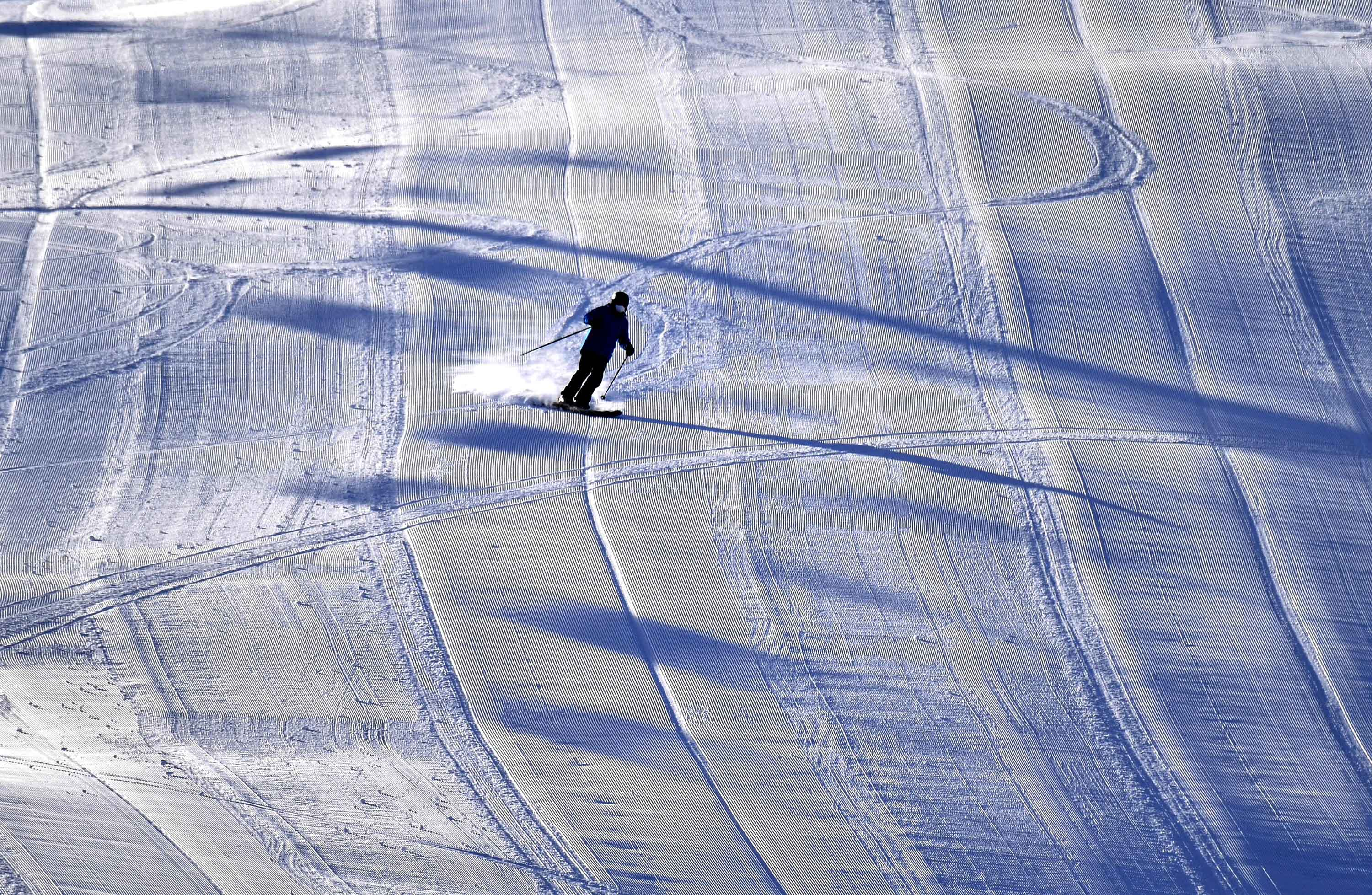 A skier descends a slope in Seefeld, Austria, on January 30.