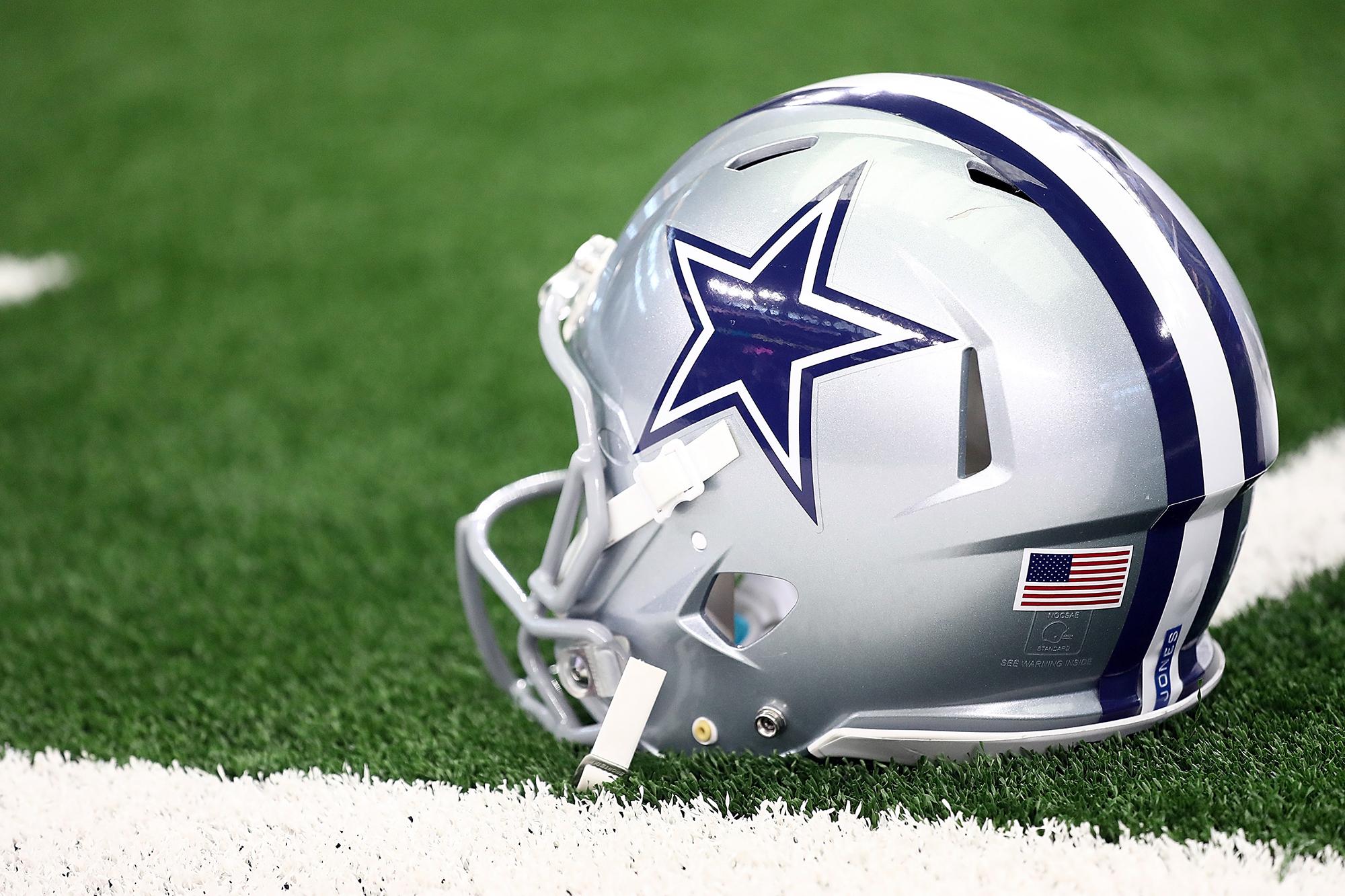 A Dallas Cowboys helmet at AT&T Stadium on October 14, 2018 in Arlington, Texas.
