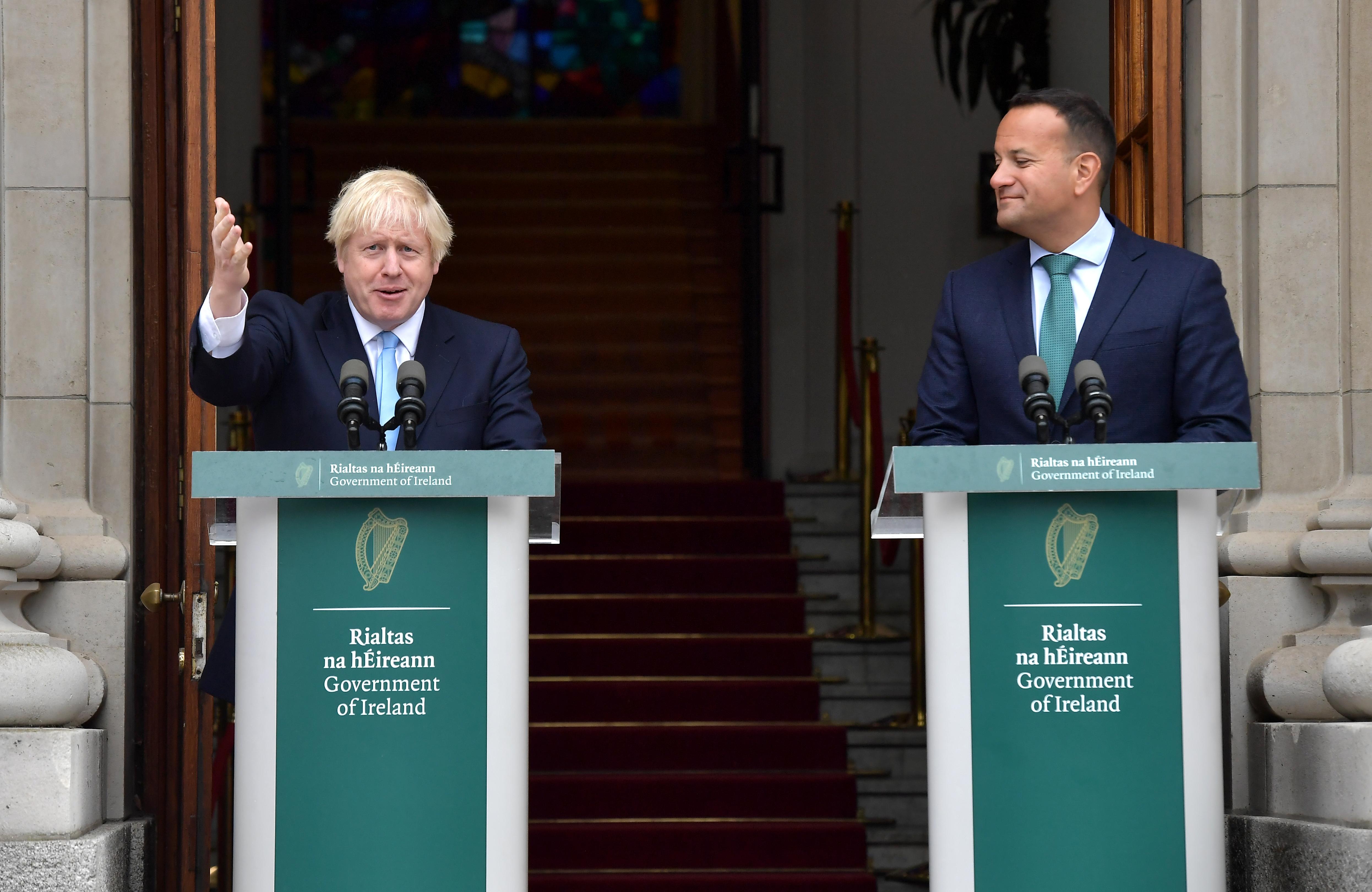 British Prime Minister Boris Johnson speaks to the media ahead of his meeting with Irish Taoiseach Leo Varadkar.