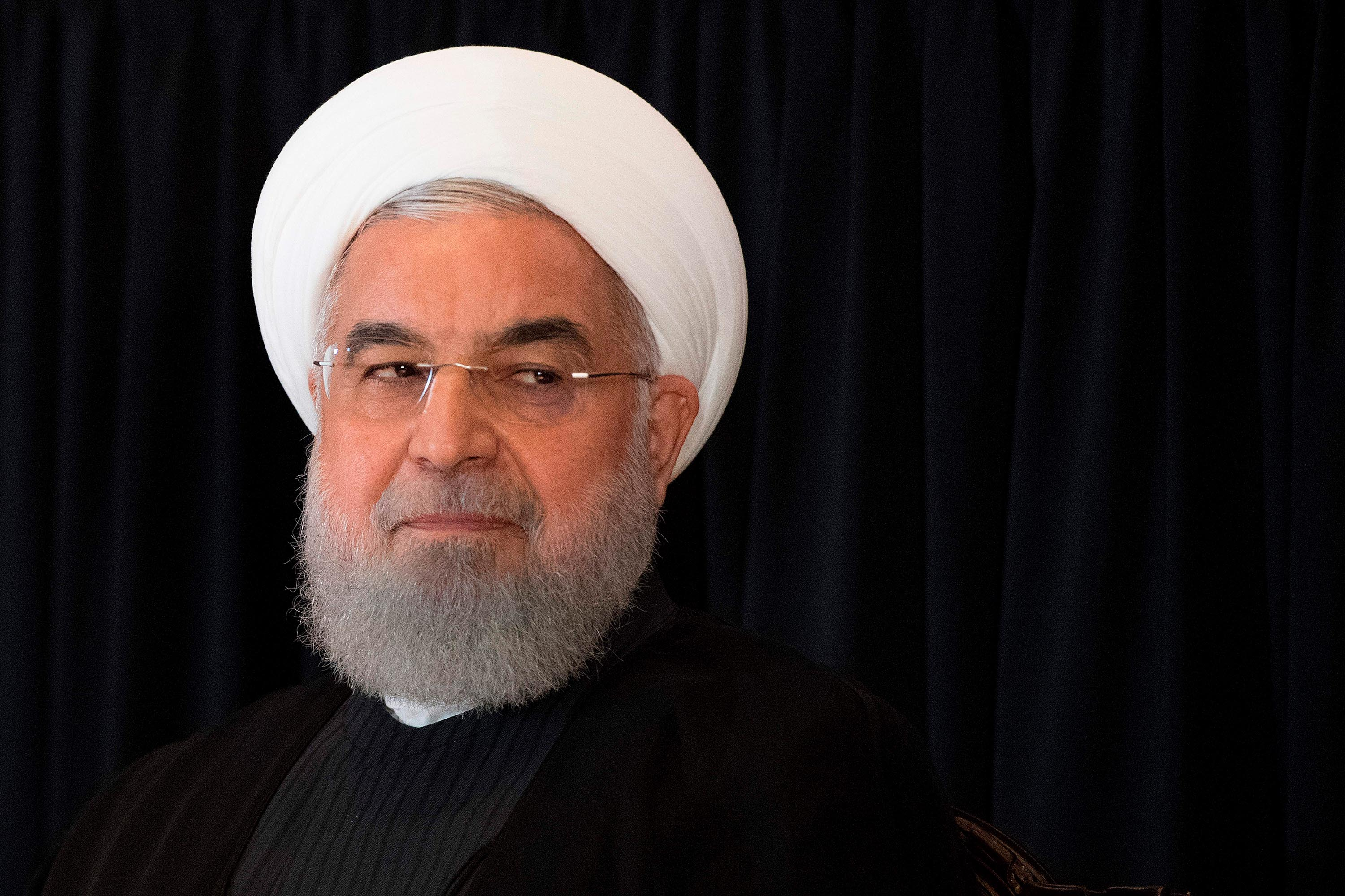 Iranian President Hassan Rouhani speaks during a news conference in New York in September 2018.