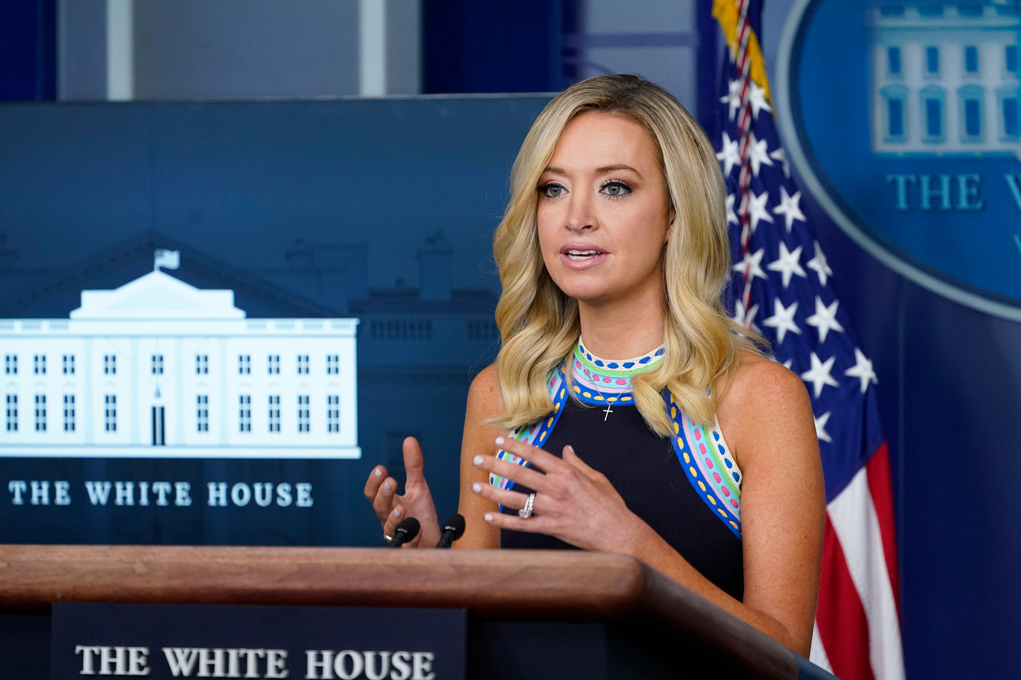 White House press secretary Kayleigh McEnany speaks during a news conference at the White House on September 24 in Washington, DC.