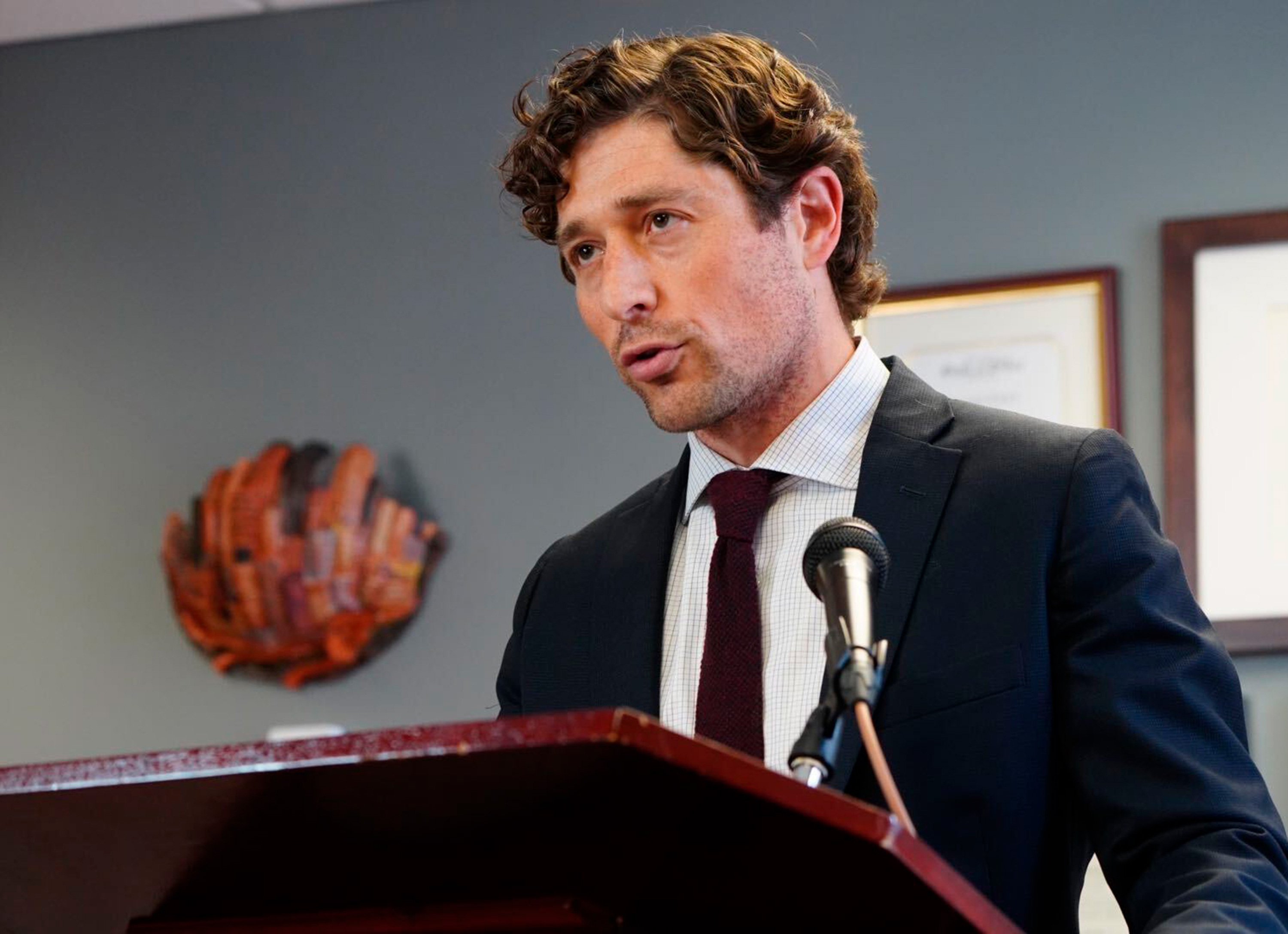Minneapolis Mayor Jacob Frey speaks during a news conference on May 27 at City Hall in Minneapolis.