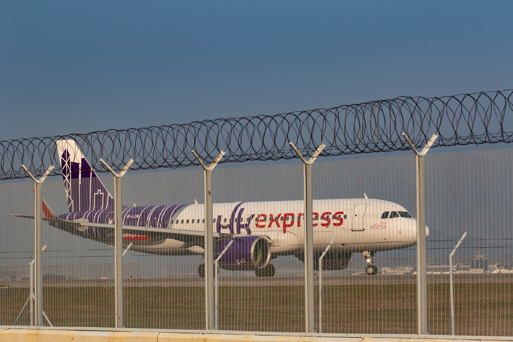 A HK Express aircraft arrives at the Hong Kong International airport on March 17.