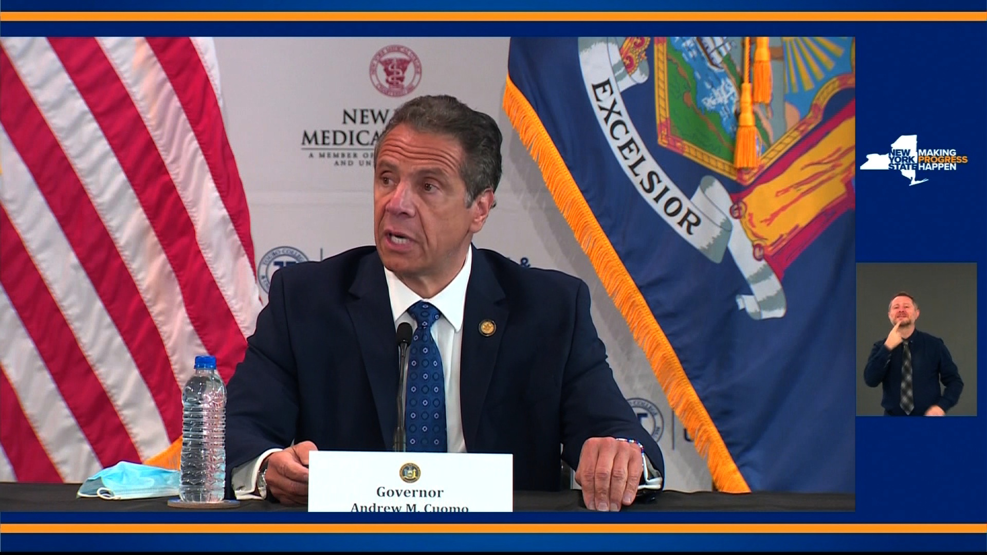 New York Gov. Andrew Cuomo speaks during a press conference in Valhalla, New York, on June 9.