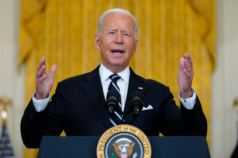 President Joe Biden speaks from the East Room of the White House in Washington, DC, on August 18.