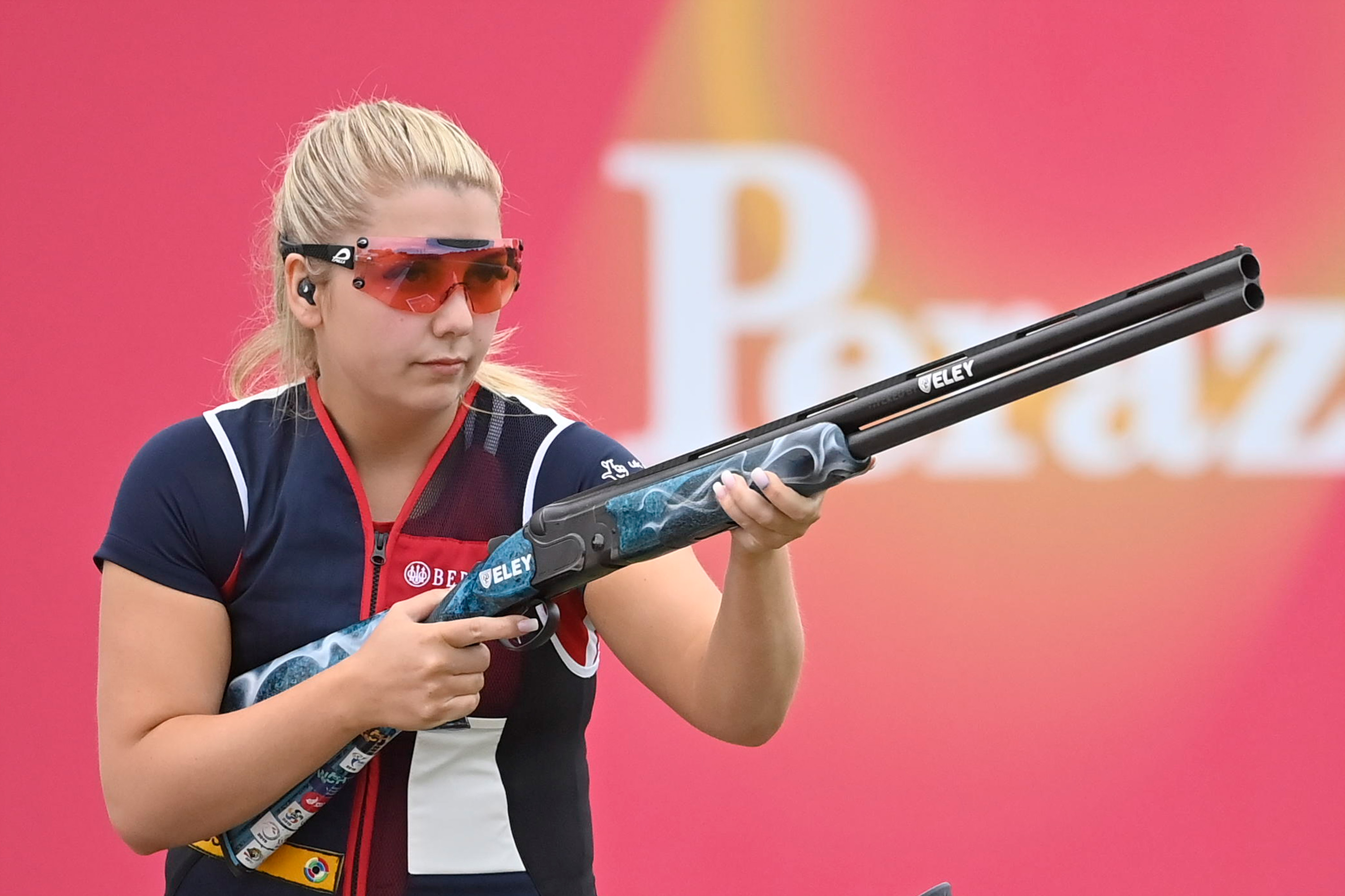 Amber Hill of Great Britain waits to shoot during the ISSF World Cup Shotgun on May 10 in Desenzano del Garda, Italy.