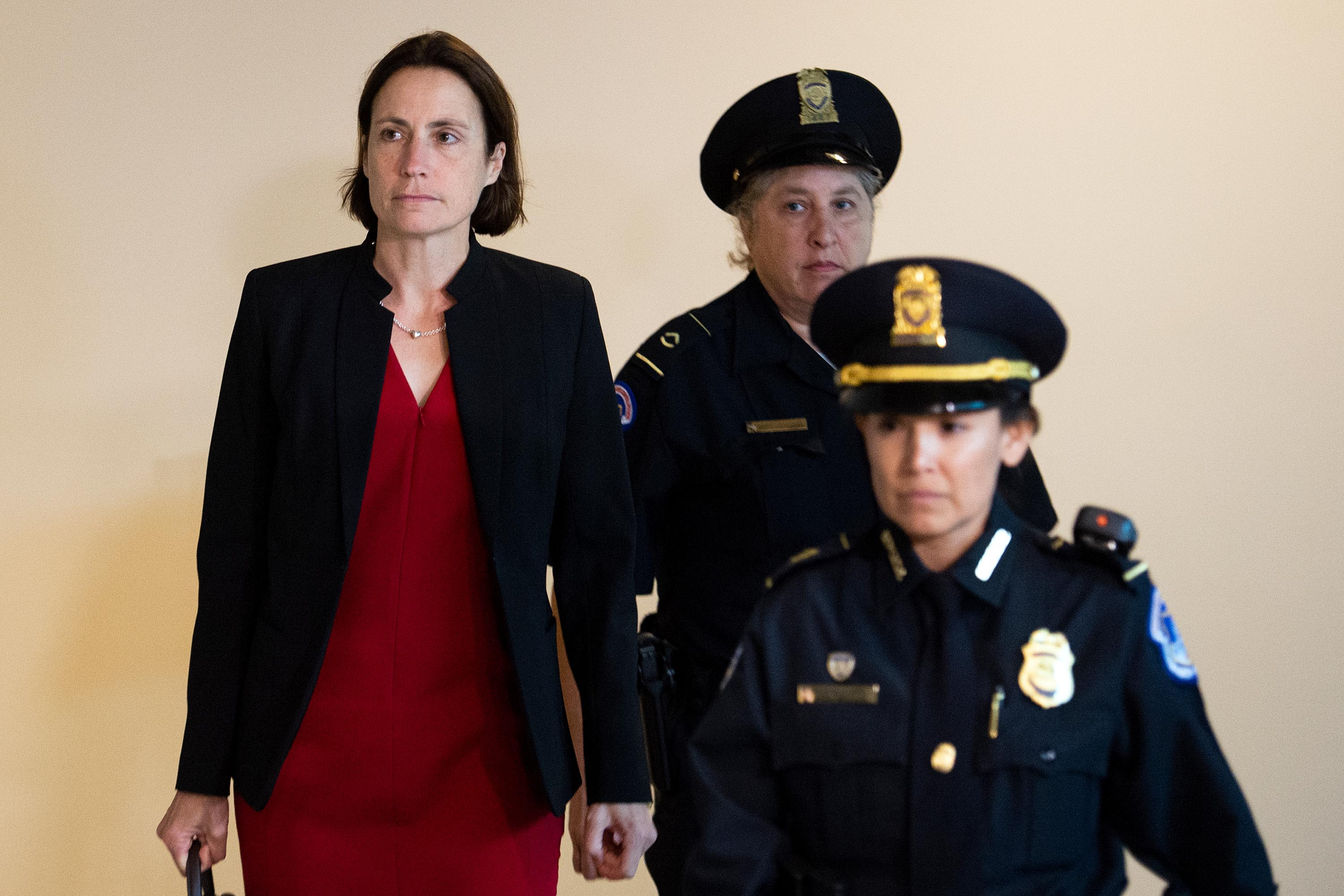 Fiona Hill arrives at the Capitol to testify before Congress as part of the House's impeachment inquiry on Monday.