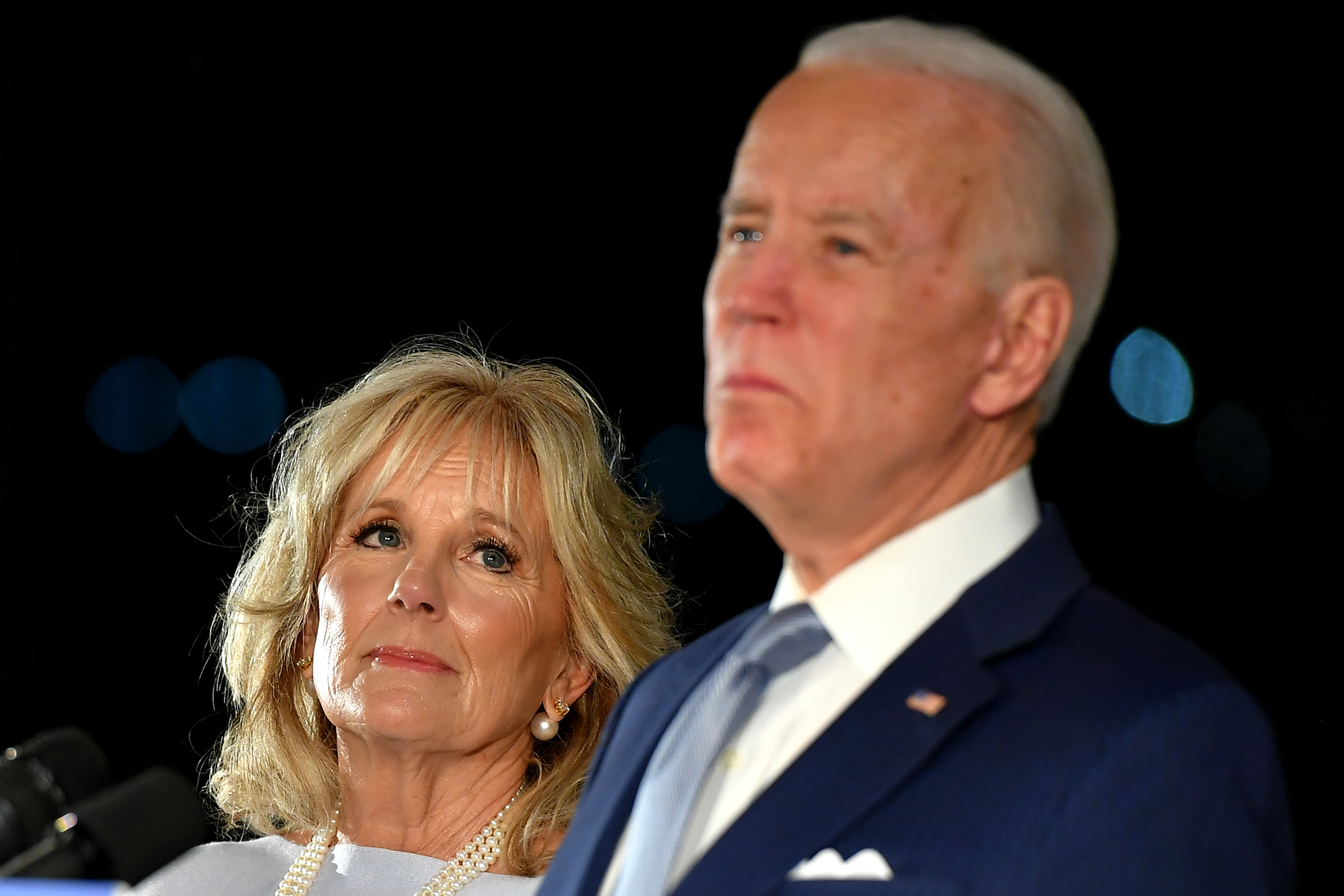 Democratic presidential hopeful former Vice President Joe Biden speaks, flanked by his wife Jill Biden, at the National Constitution Center in Philadelphia, Pennsylvania on March 10.
