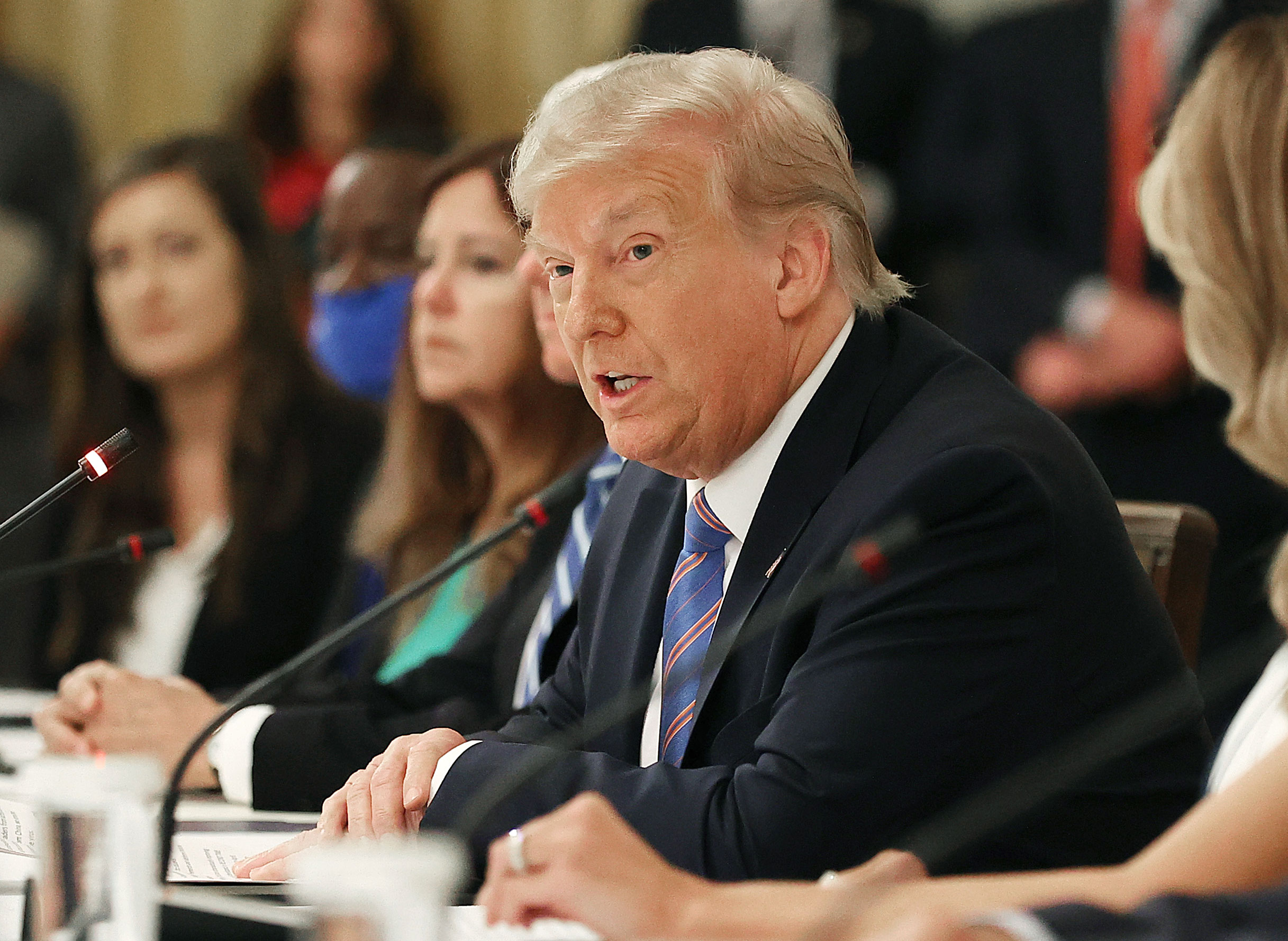 President Donald Trump speaks during an event with students, teachers and administrators about how to safely re-open schools in the East Room at the White House July 7 in Washington, DC.